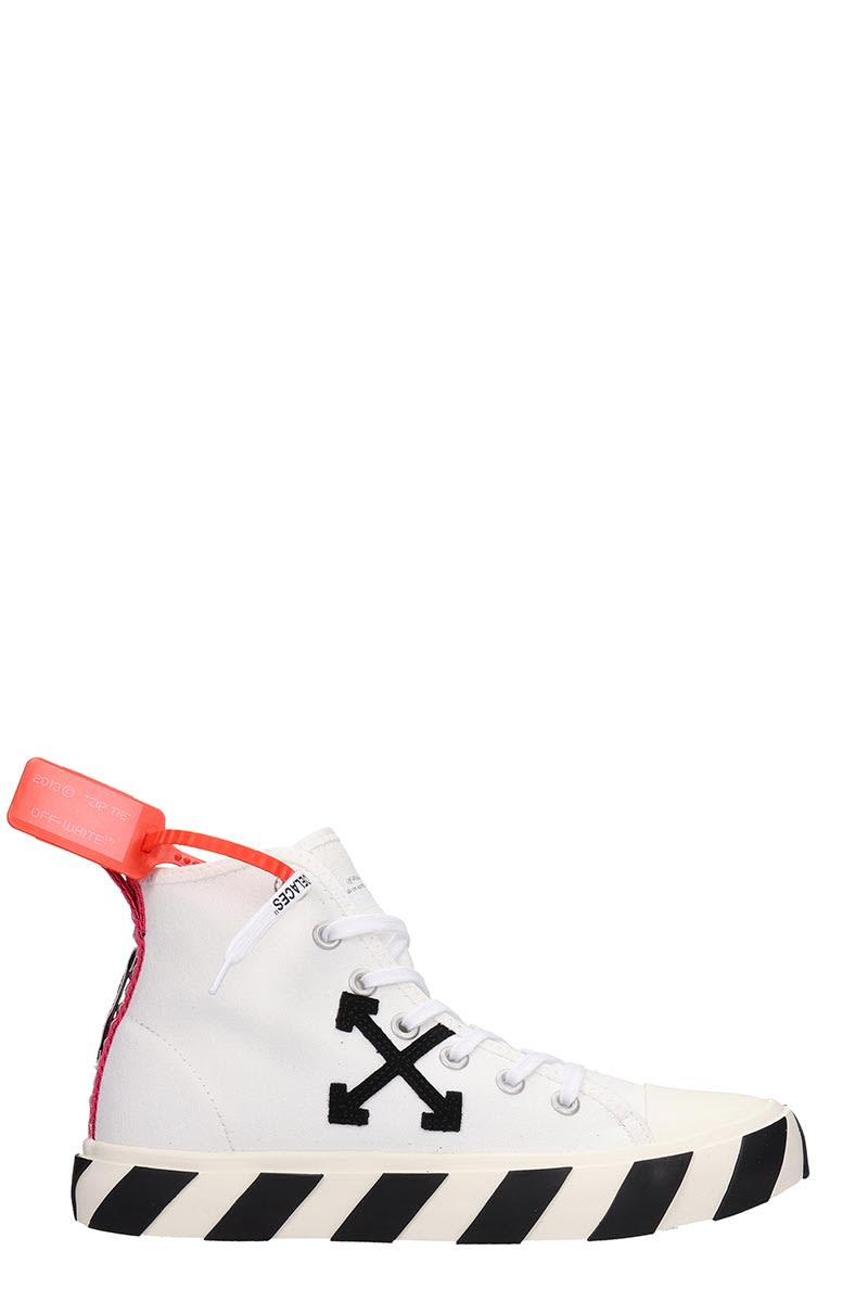 Off-White Mid Top Sneakers In White Canvas