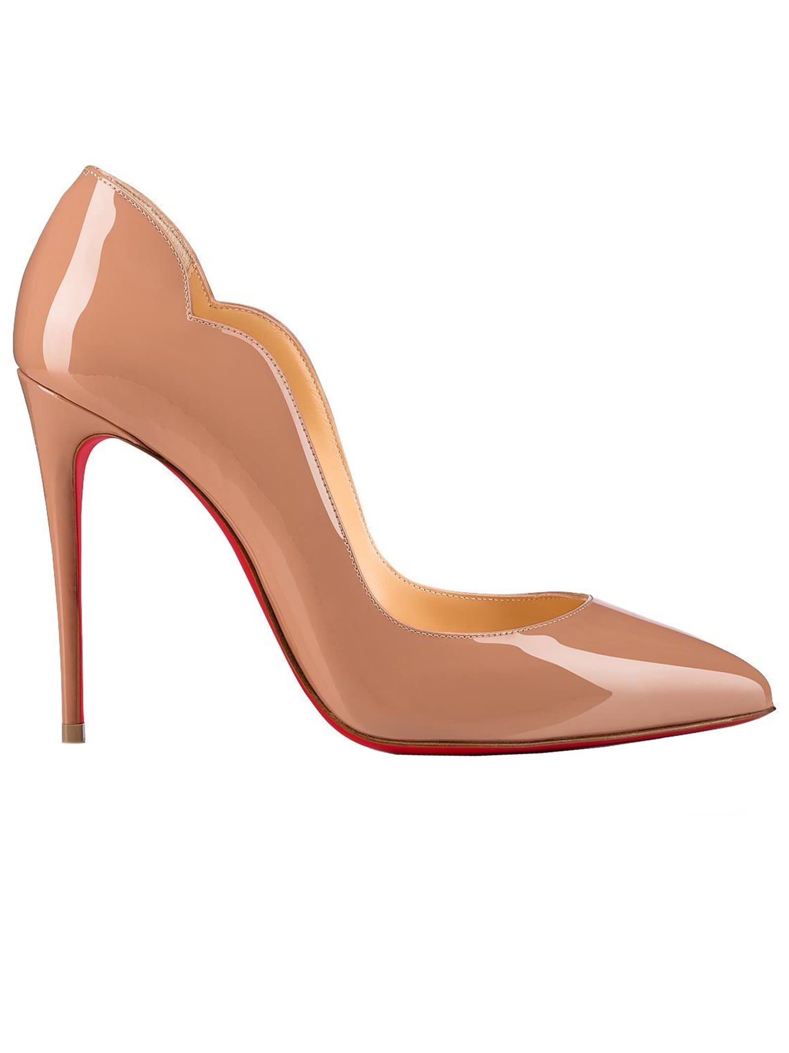 Buy Christian Louboutin Hot Chic 100 Nude Patent Leather Pumps online, shop Christian Louboutin shoes with free shipping