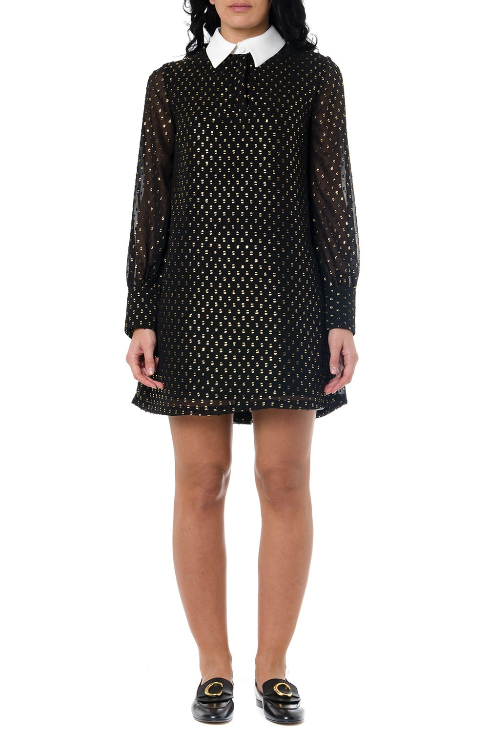 Buy Frankie Morello Black Glittered Shirt Dress online, shop Frankie Morello with free shipping