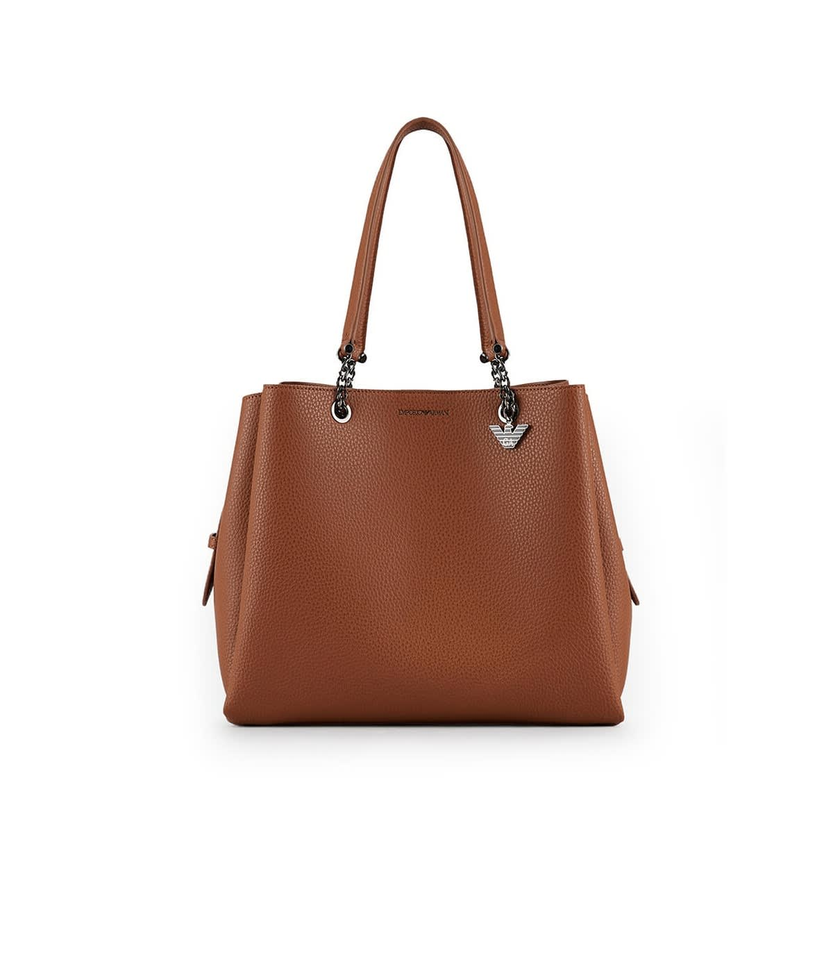 Emporio Armani LIGHT BROWN FAUX LEATHER SHOPPING BAG