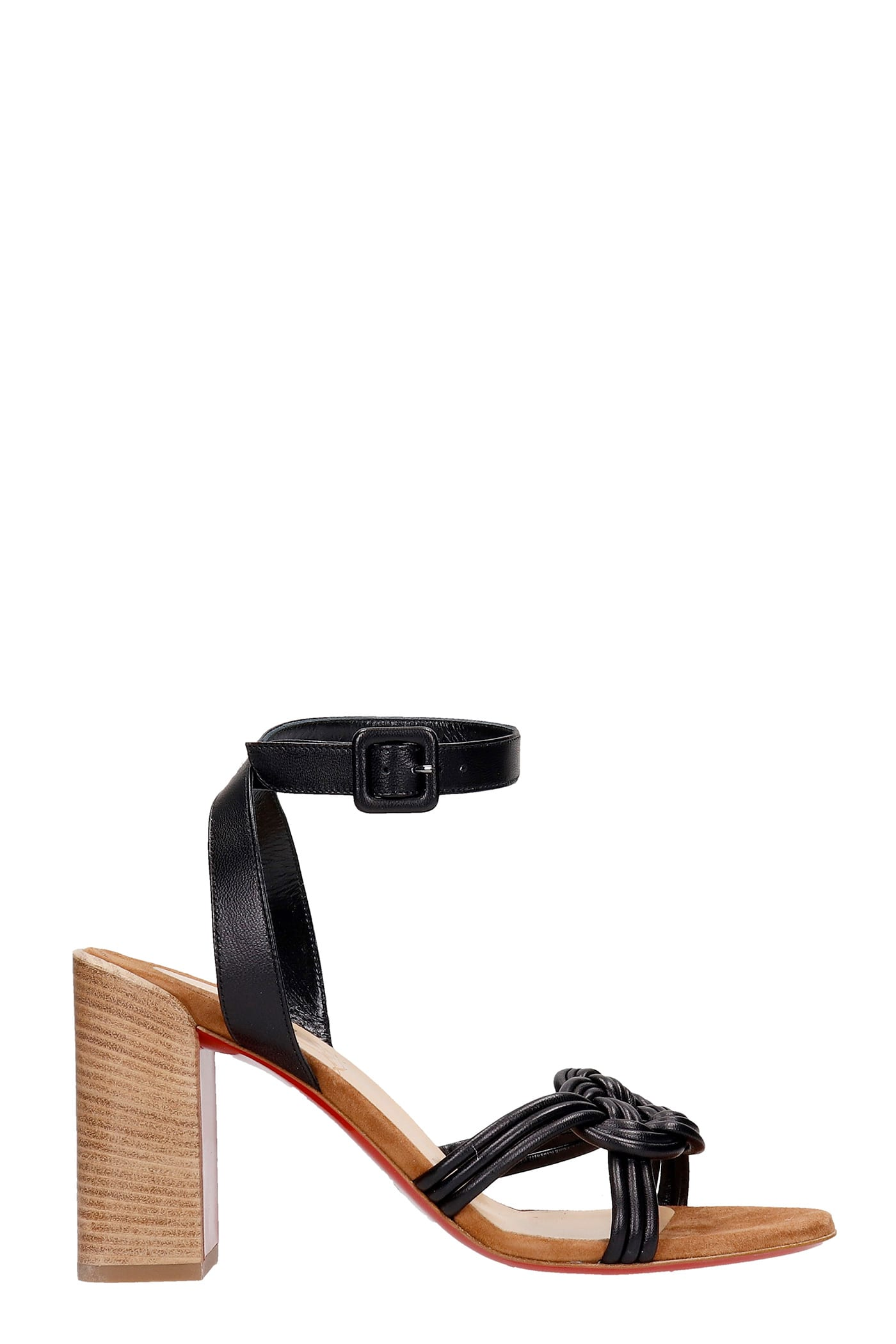 Christian Louboutin ELLA 85 SANDALS IN BLACK LEATHER