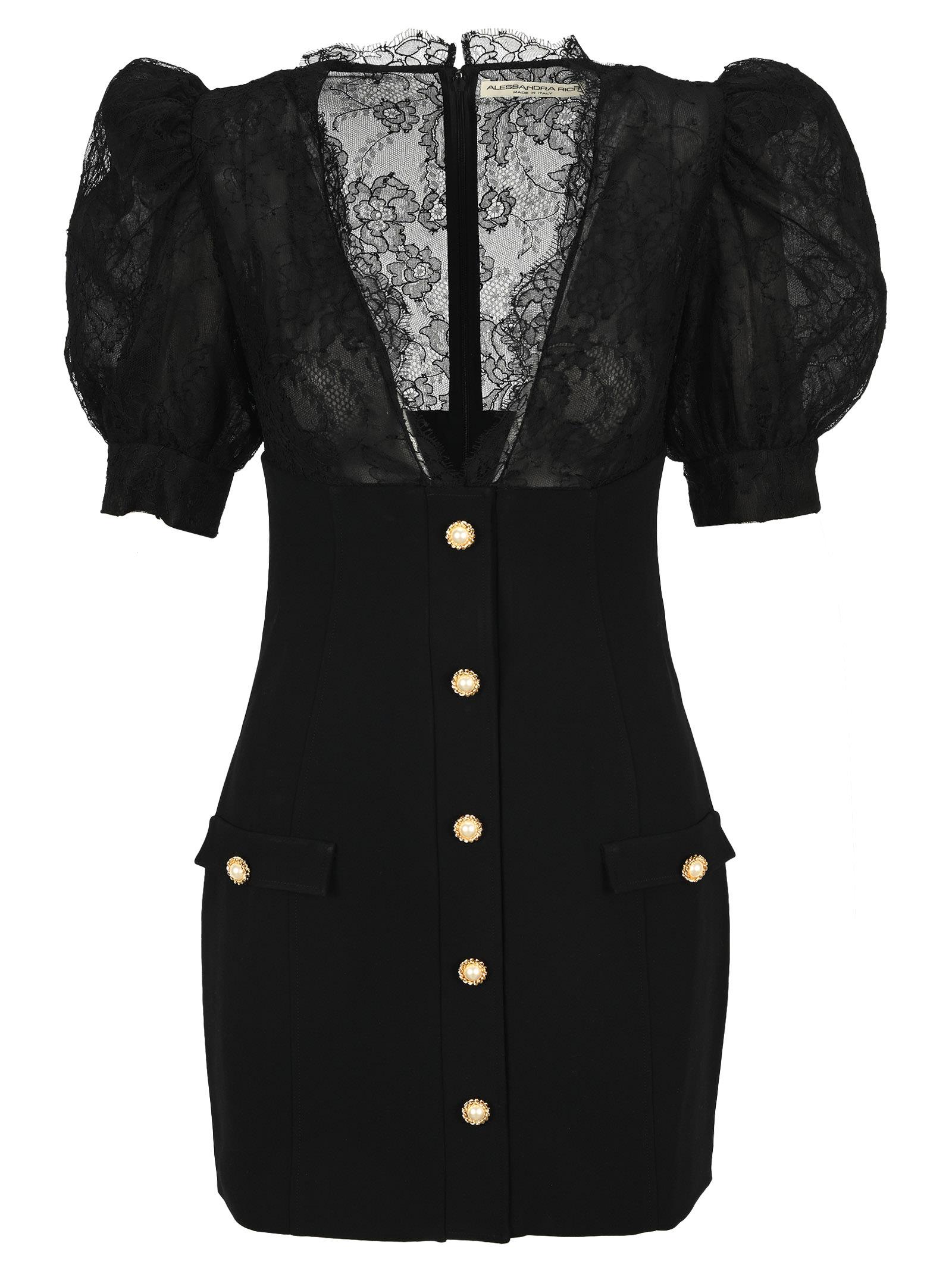 Alessandra Rich Lace Details Mini Dress
