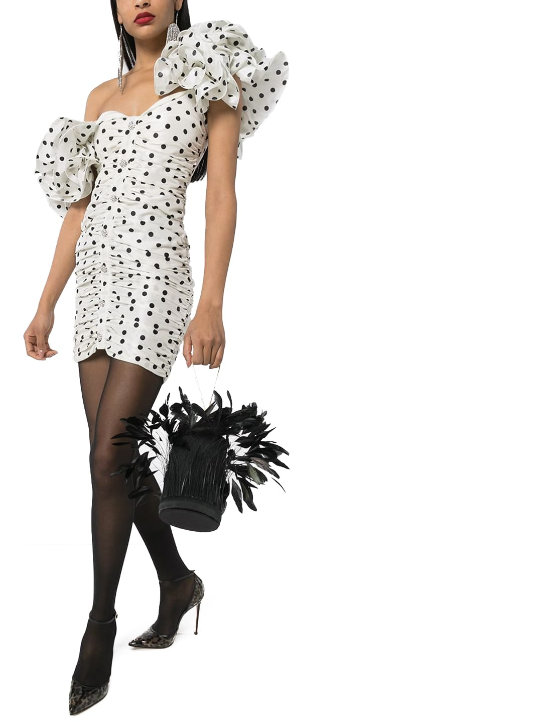 Buy Alessandra Rich Polka Dot Silk Dress online, shop Alessandra Rich with free shipping