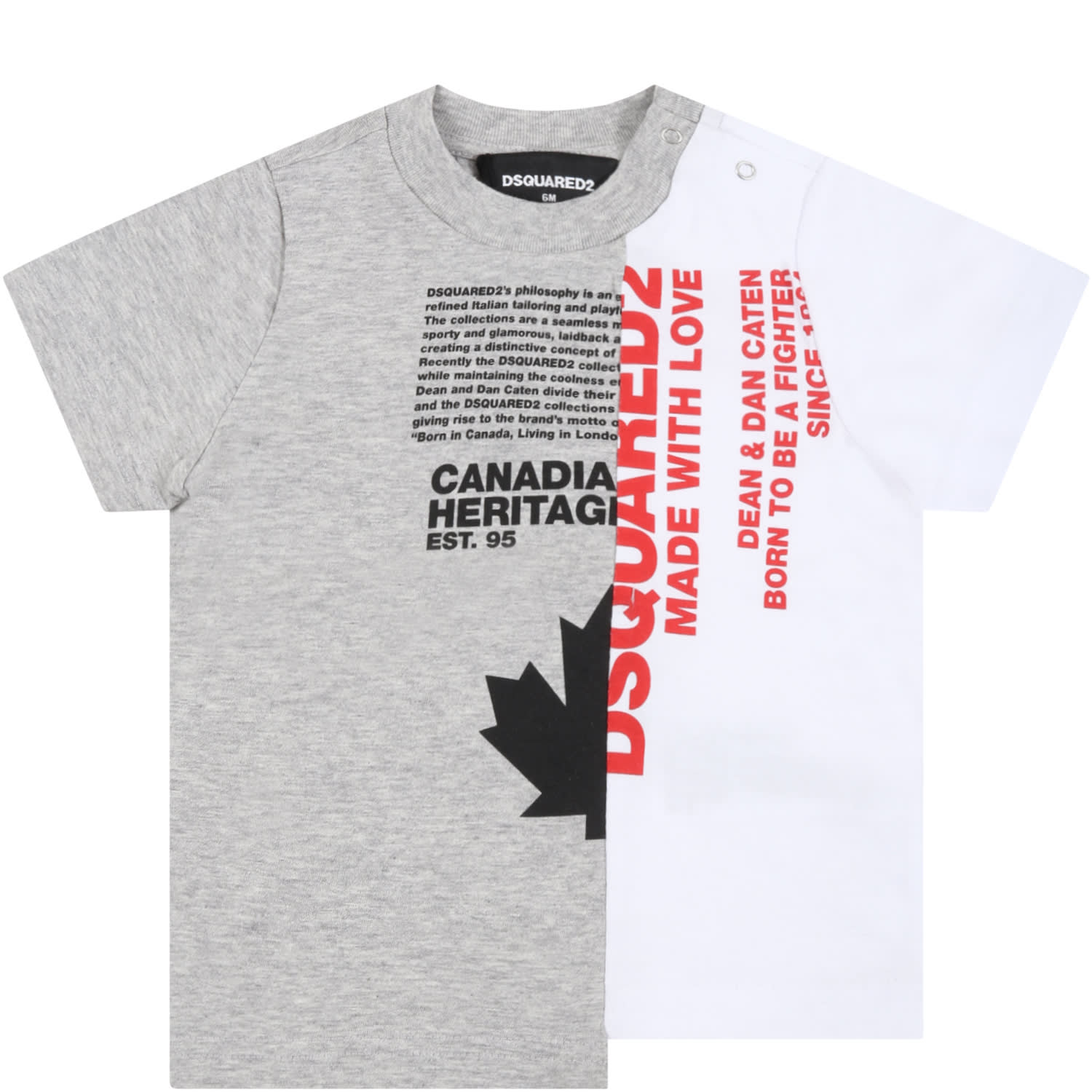 Dsquared2 Cottons MULTICOLOR T-SHIRT FOR BABYBOY WITH RED LOGO