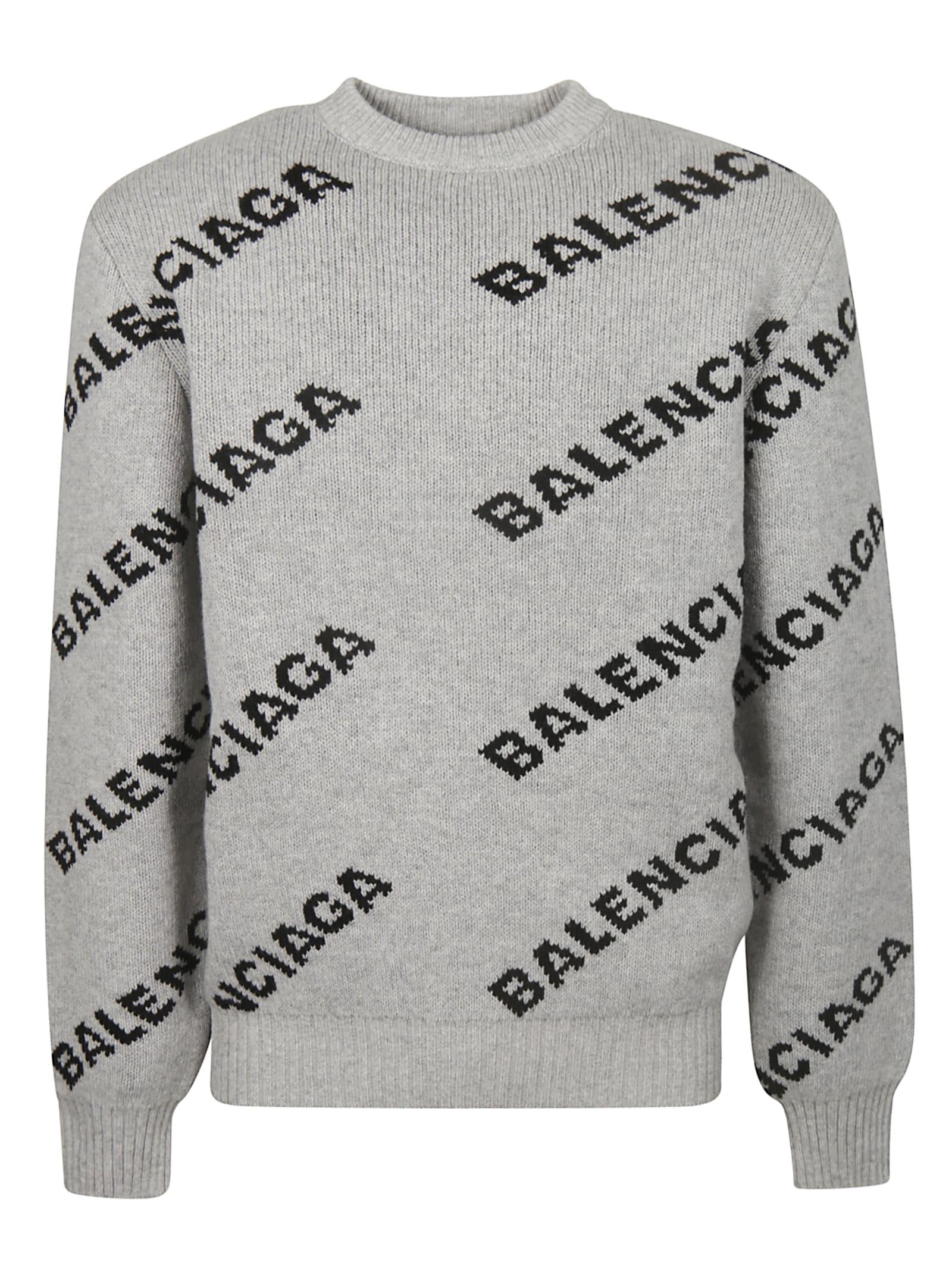 Balenciaga Logo Knit All-over Sweater