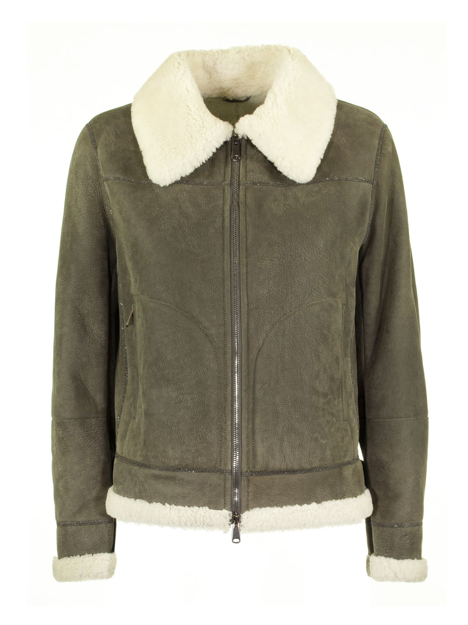 Brunello Cucinelli Matte Aviator Shearling Outerwear Jacket With Monili