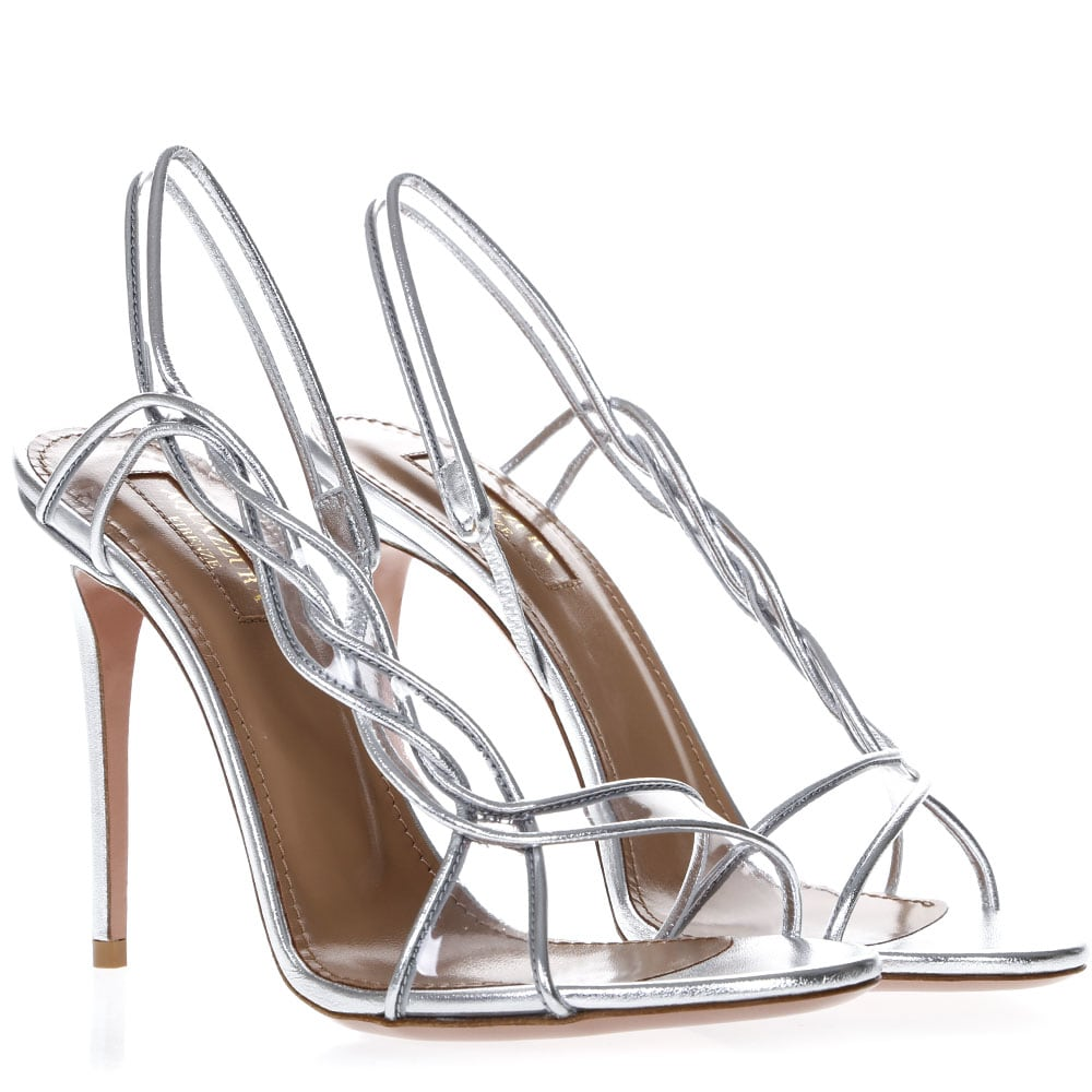 Aquazzura Aquazzura Swing Silver Leather Sandals Silver