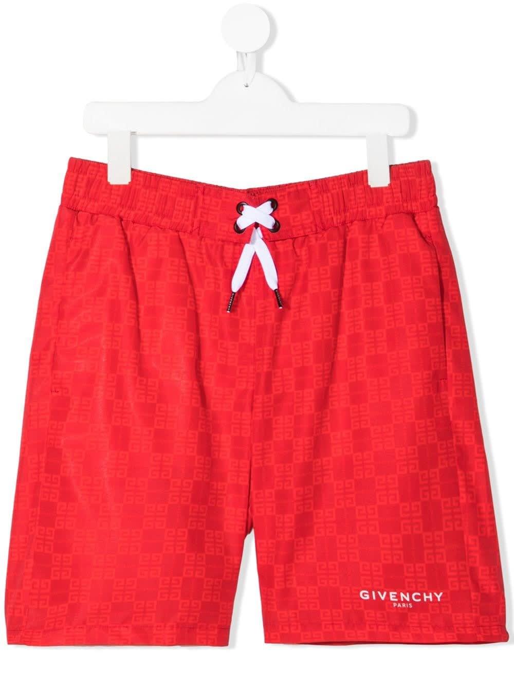 Givenchy Shorts RED SWIM SHORTS WITH JACQUARD LOGO