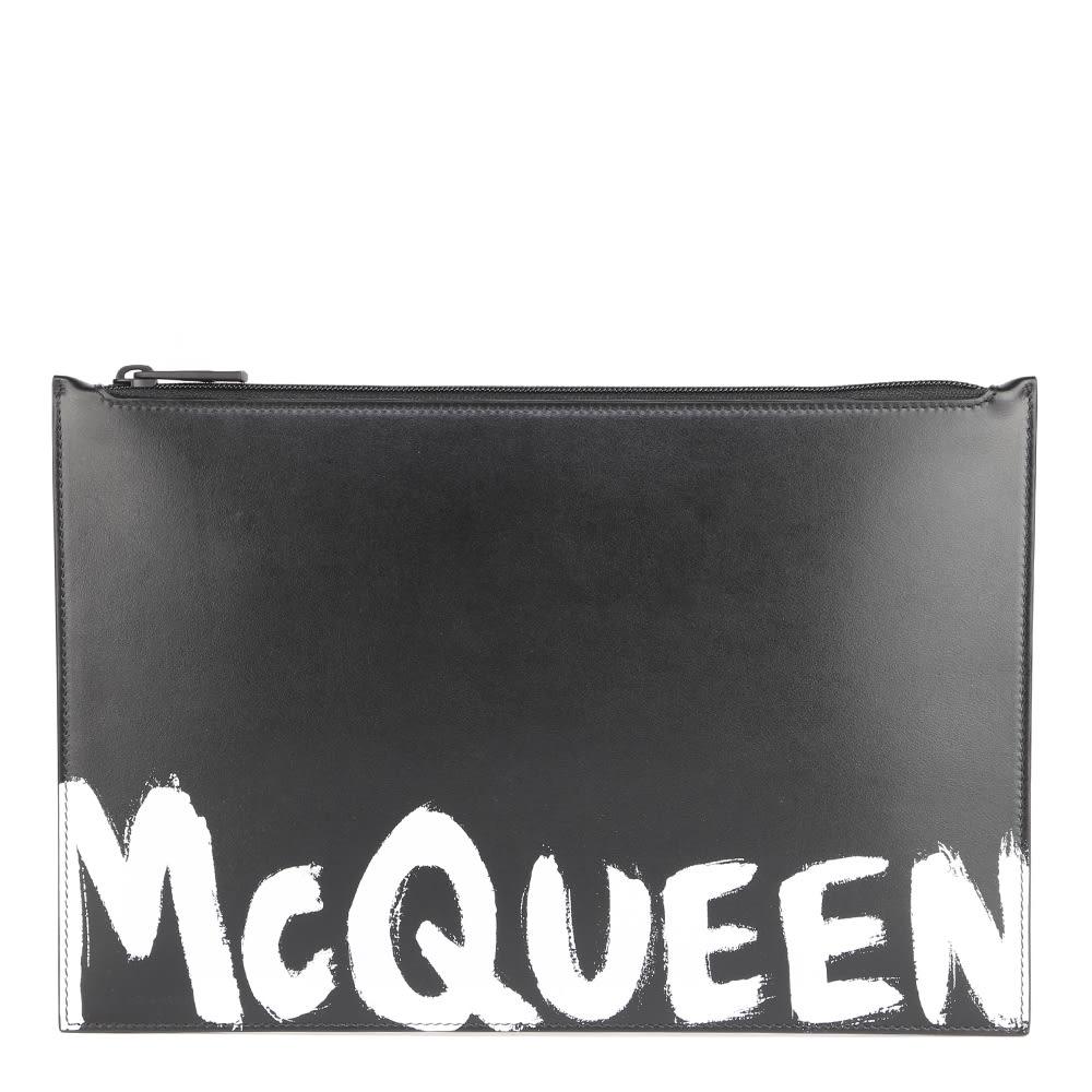 Alexander McQueen Leather Clutch Bag With Contrasting Mcqueen Logo