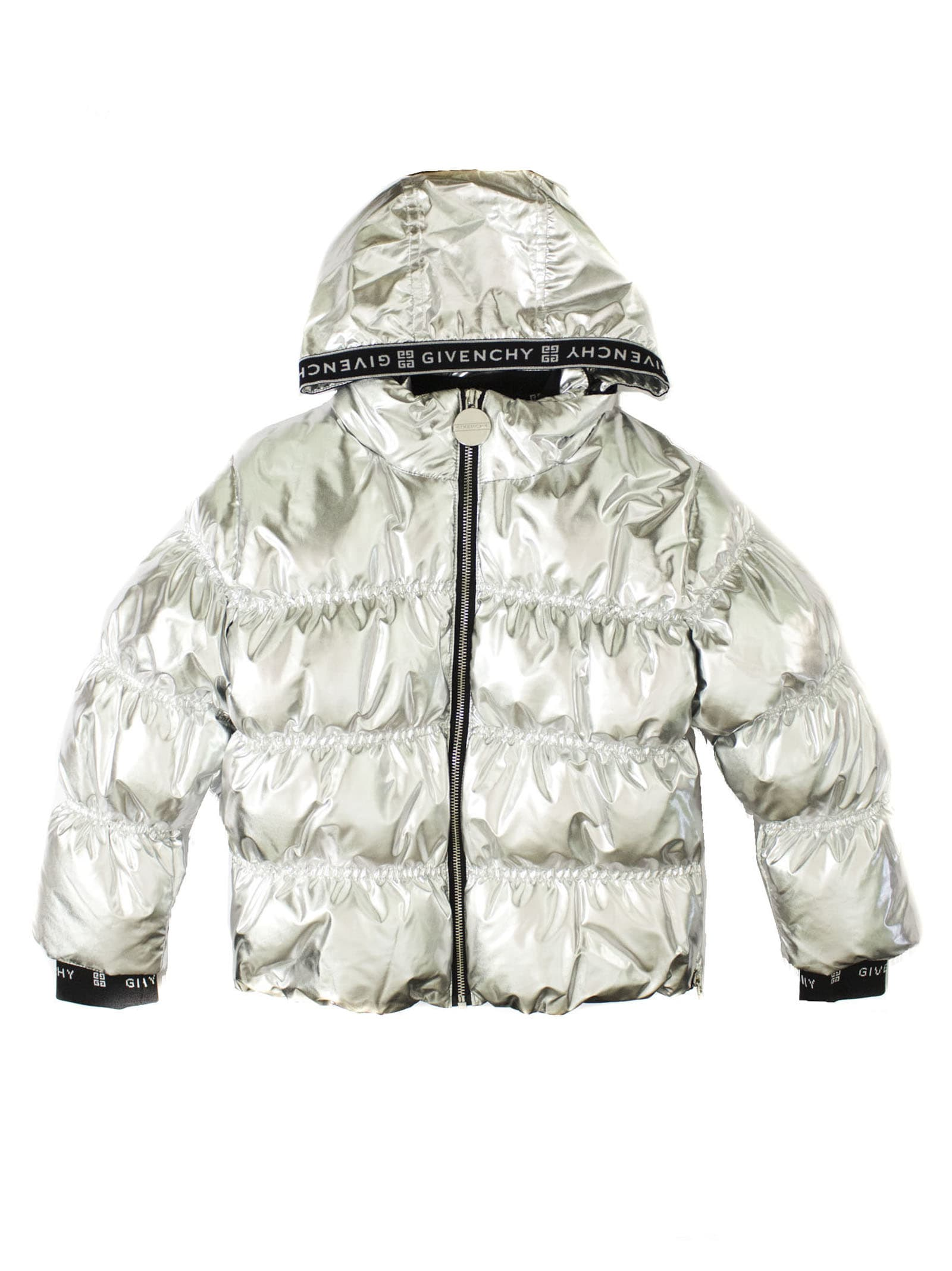 Givenchy Kids' Silver Shell Puffer Coat In Argento