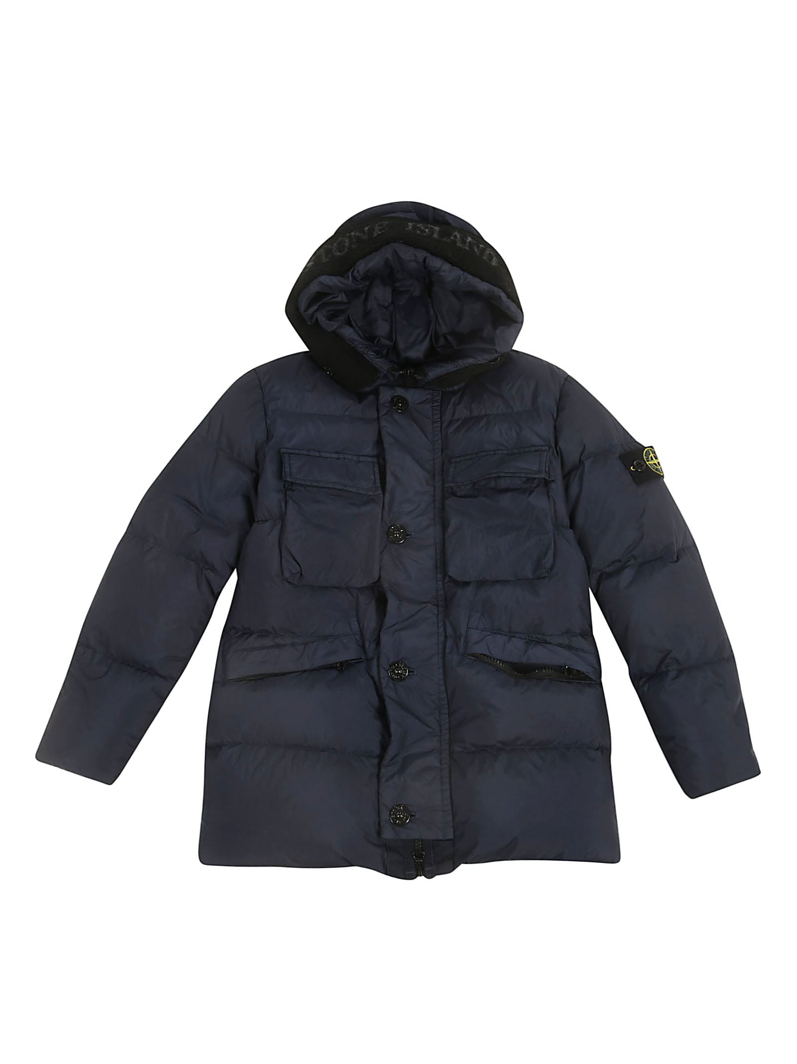 release info on discount sale detailed pictures Stone Island Junior Stone Island Junior Buttoned Padded Jacket ...