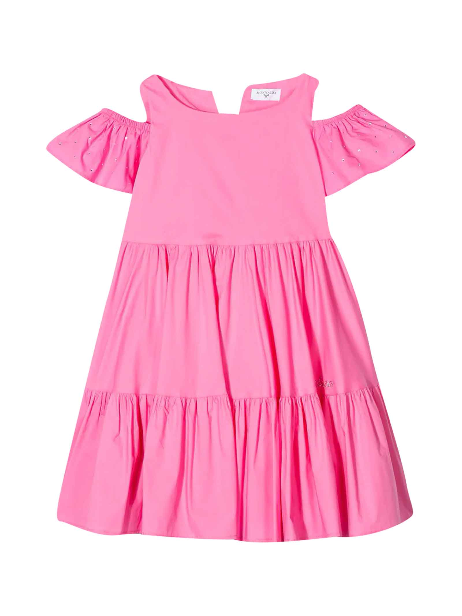 Buy Monnalisa Pink Dress With Rear Bow online, shop Monnalisa with free shipping