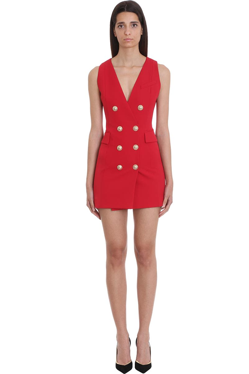 Balmain Dress In Red Cotton