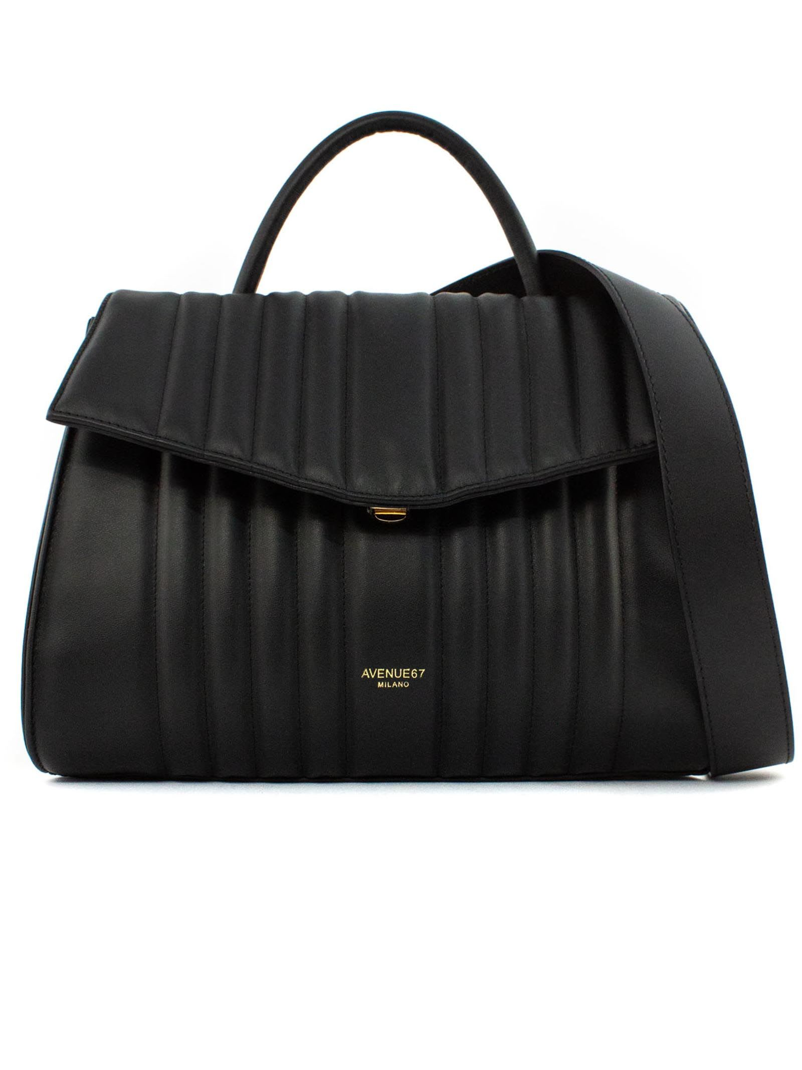 Edith Medium Bag In Black Quilted Leather