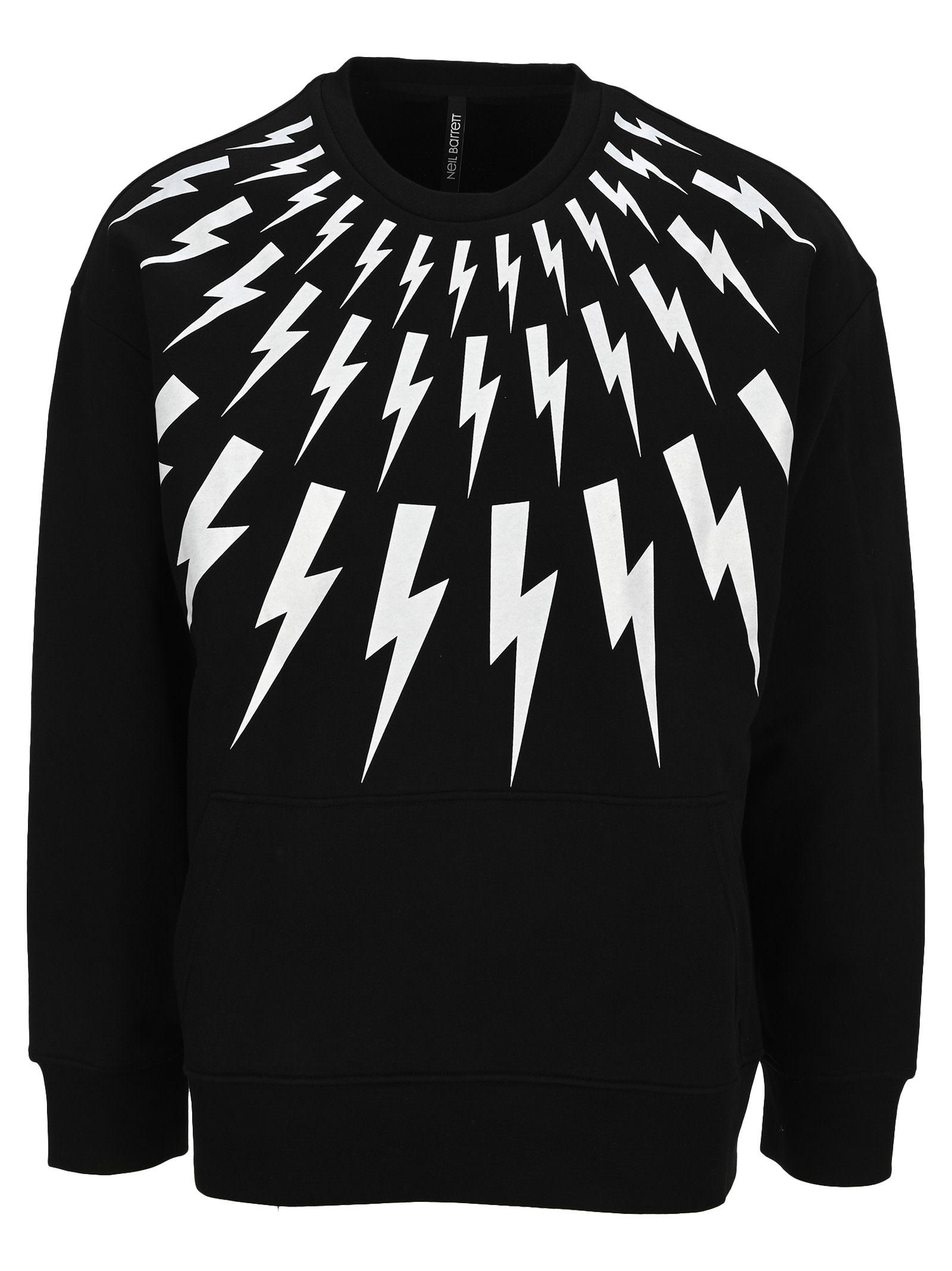 Neil Barrett Sweatshirts FAIR-ISLE THUNDERBOLT LIGHTWEIGHT JERSEY SWEATSHIRT