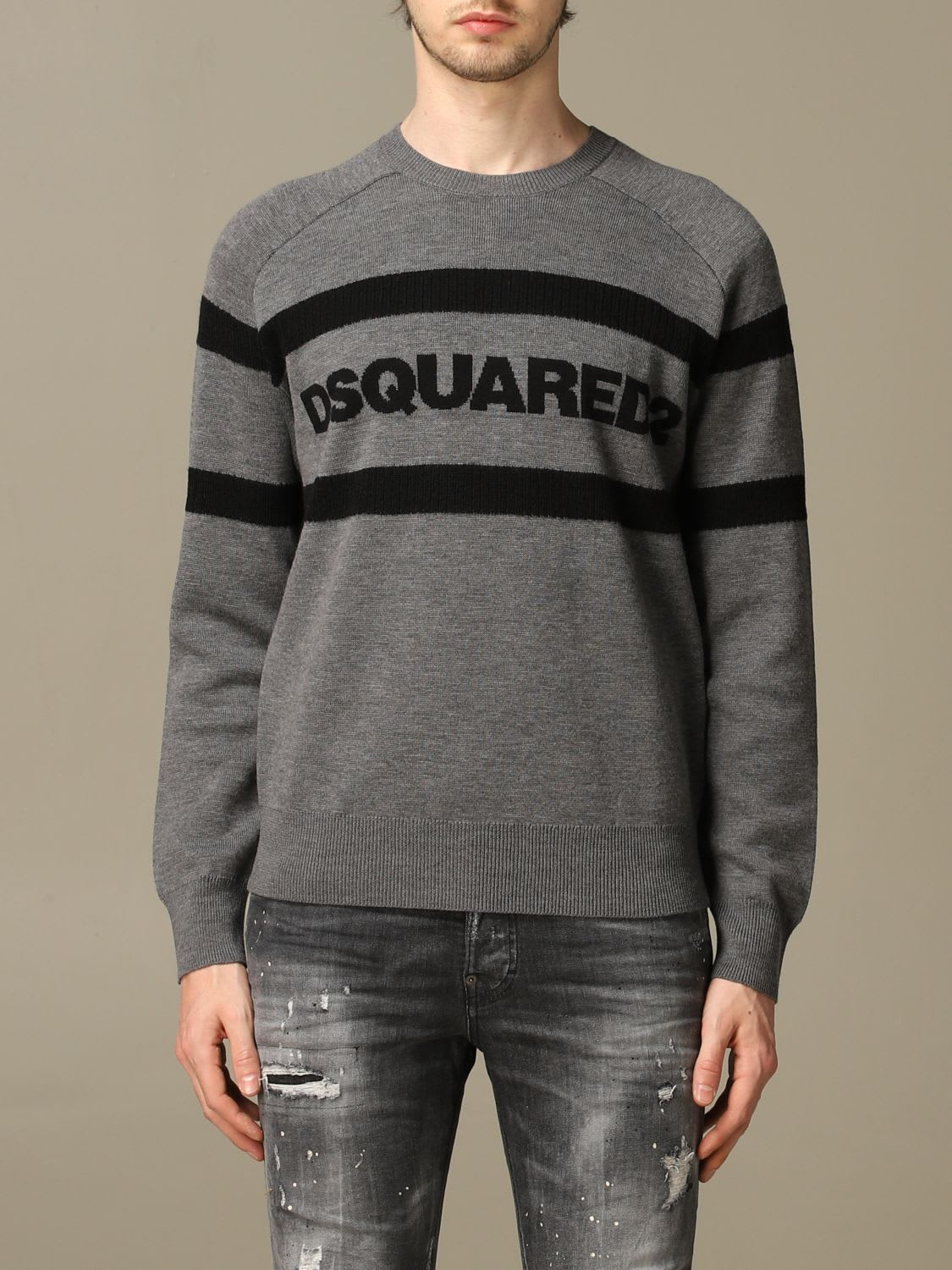 Dsquared2 Sweater Dsquared2 Wool Sweater With Bands With Logo