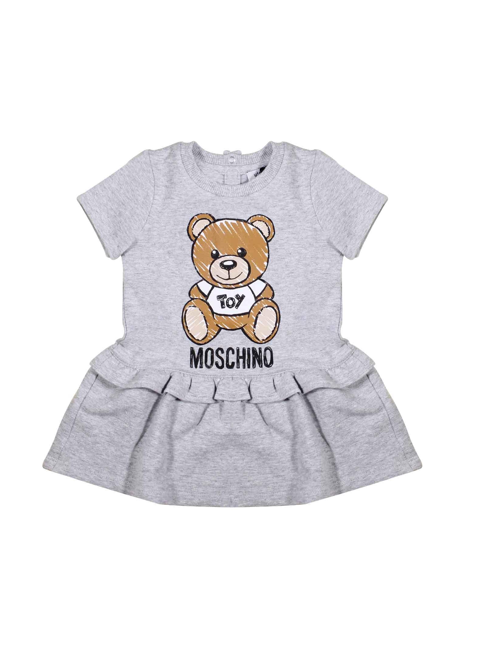 Moschino Grey Short-sleeved Dress For Girl