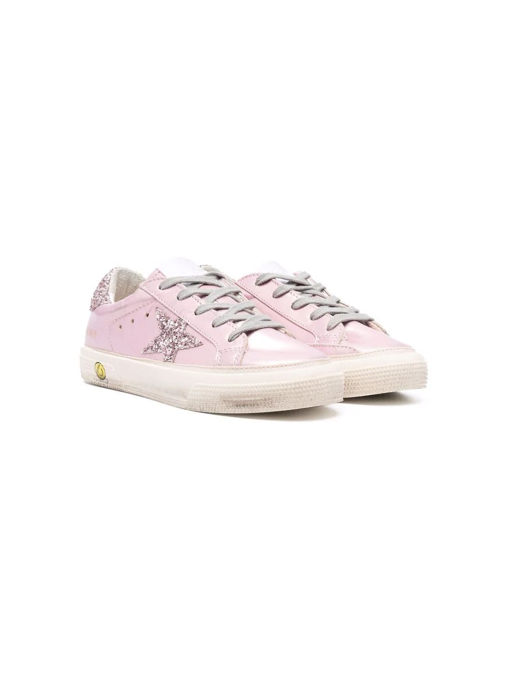 Golden Goose Junior Super-star Sneakers In Pink Laminated Leather With Glittered Star And Spoiler