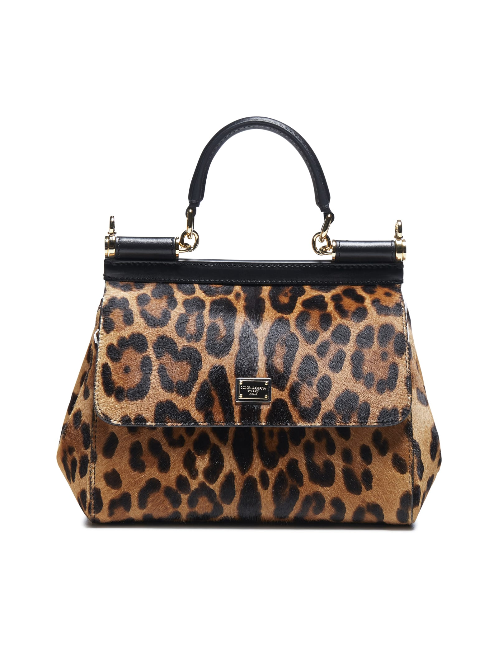Dolce & Gabbana Sicily Leopard Print Ponyskin And Leather Bag