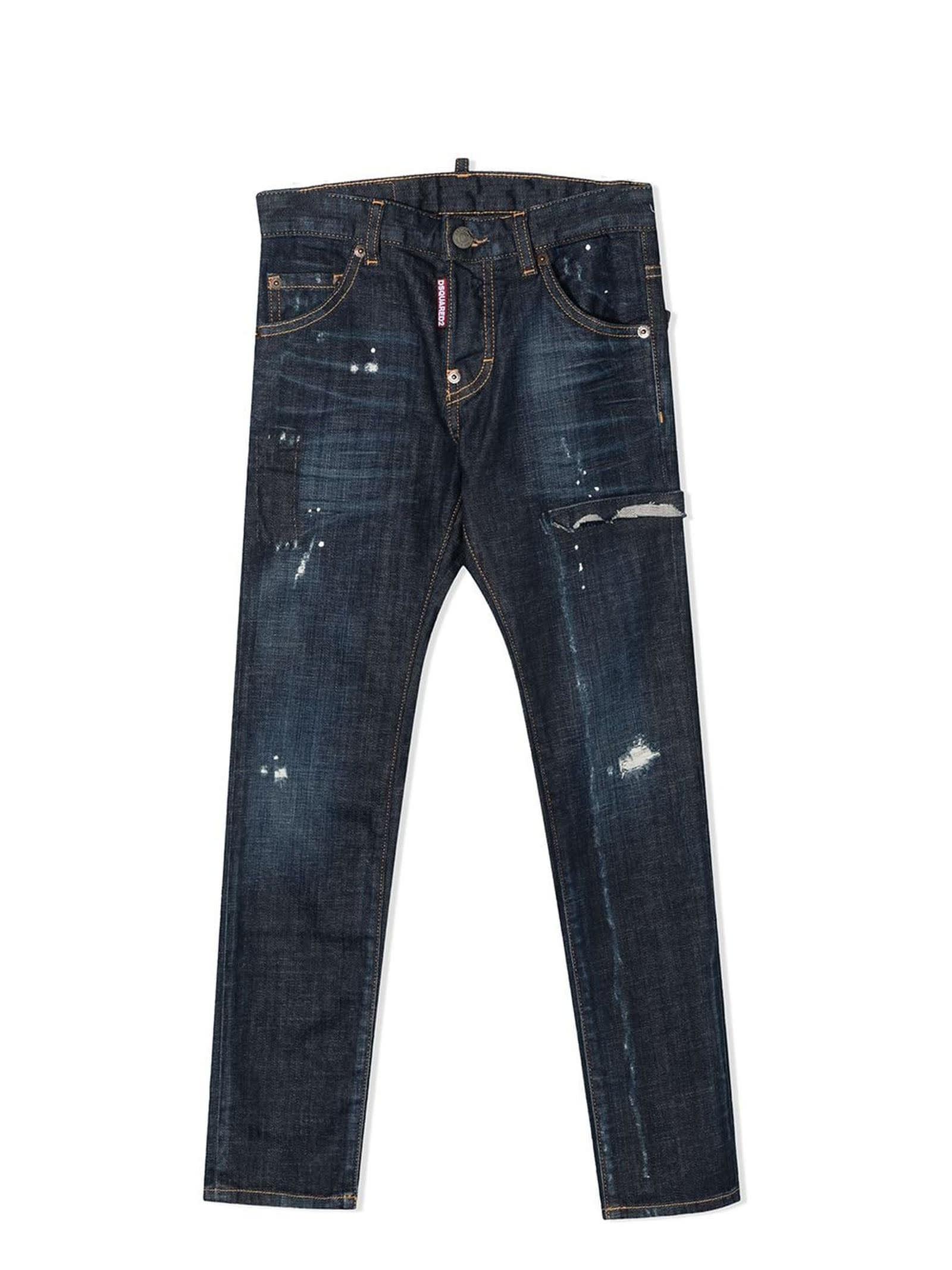 Dsquared2 Dark Blue Cotton-blend Jeans