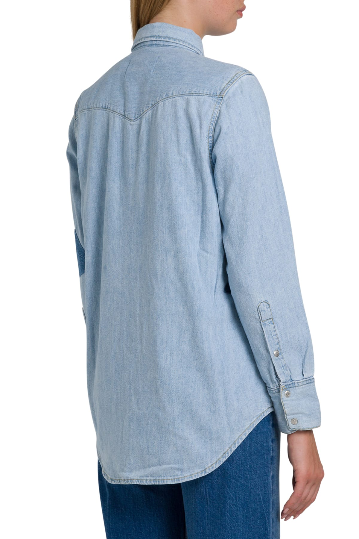 Jeans Foundation Calvin Western Shirt With Klein Denim Contrasting Patches UzMVqSp