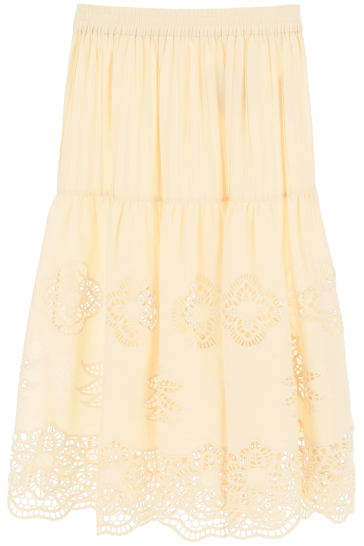 See By Chloé GUIPURE AND COTTON VOILE SKIRT