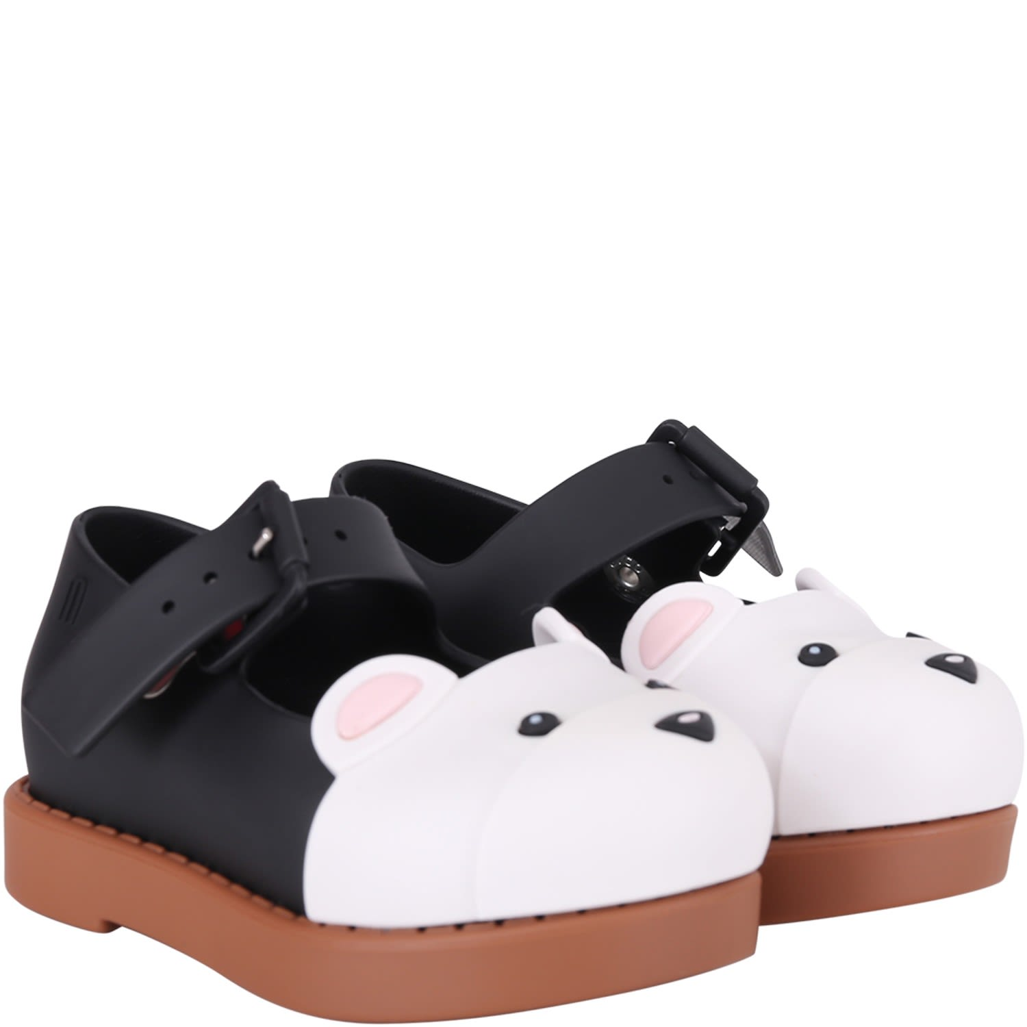 Black And Beige Ballerina Flats For Girl With Bear