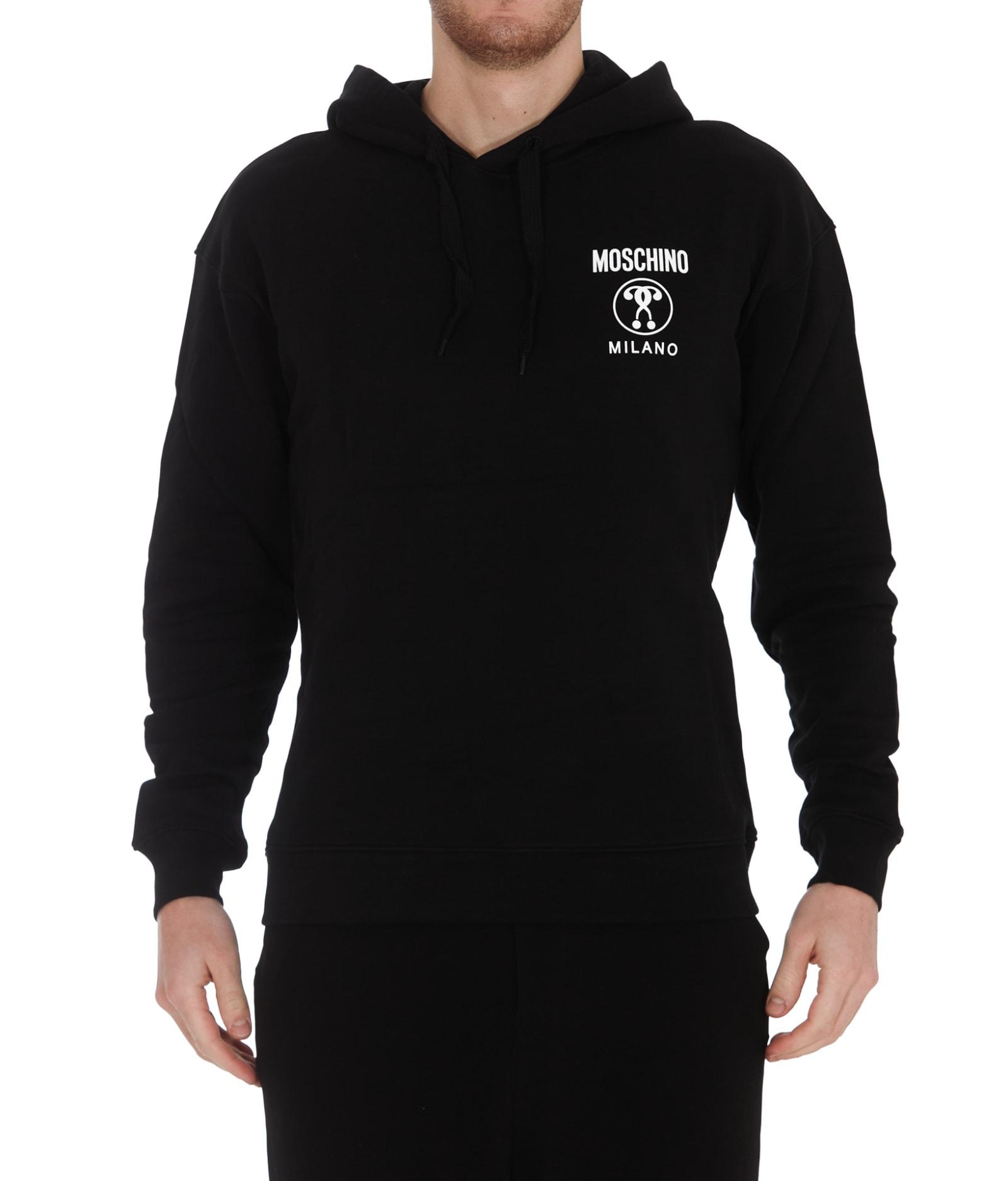 Moschino Logo Hoodie In Black