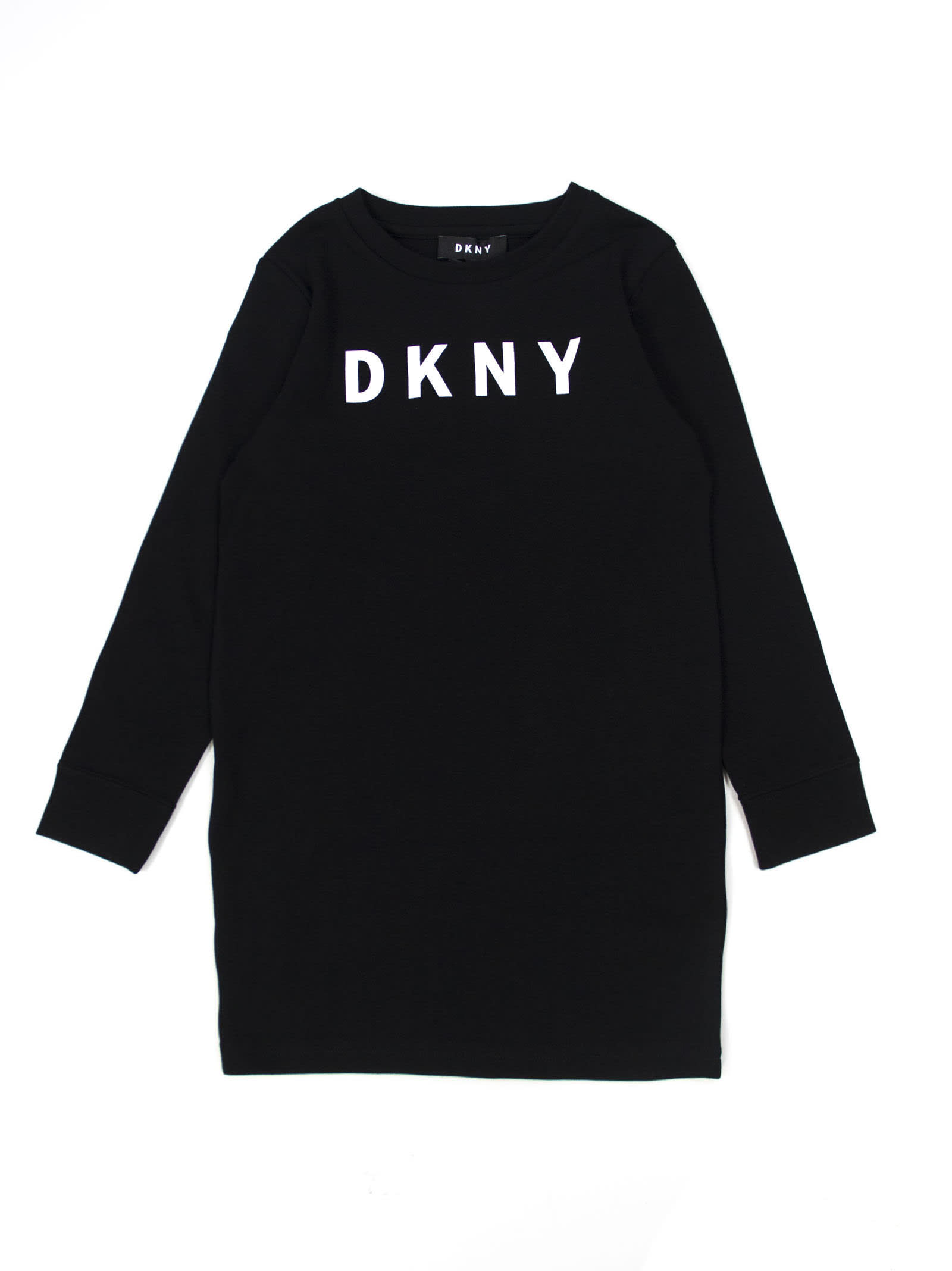 DKNY Black Cotton Jersey Dress