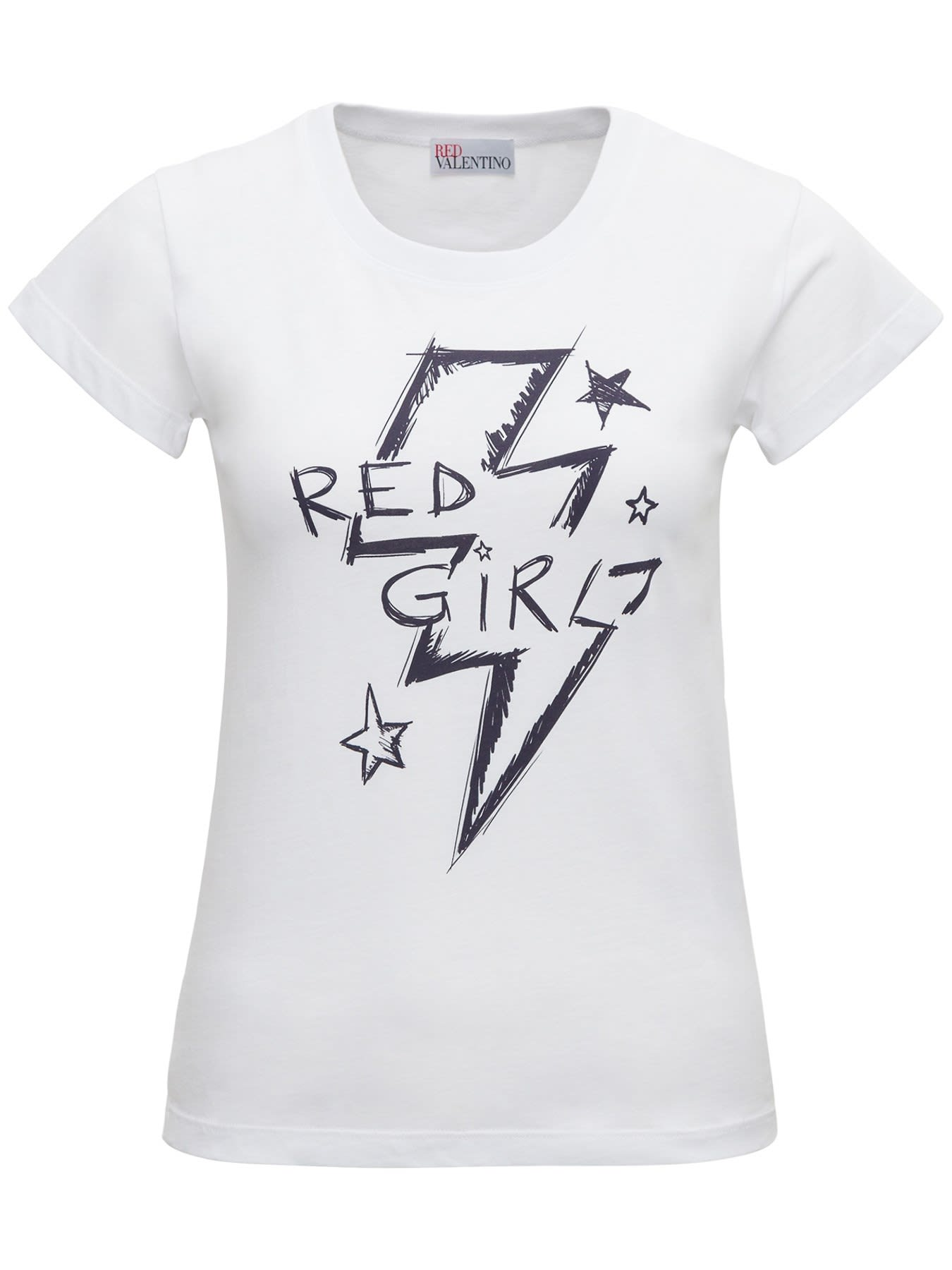 T-shirt Crew-neck White Cotton Red Girl print Short sleevesComposition: 100% Cotton