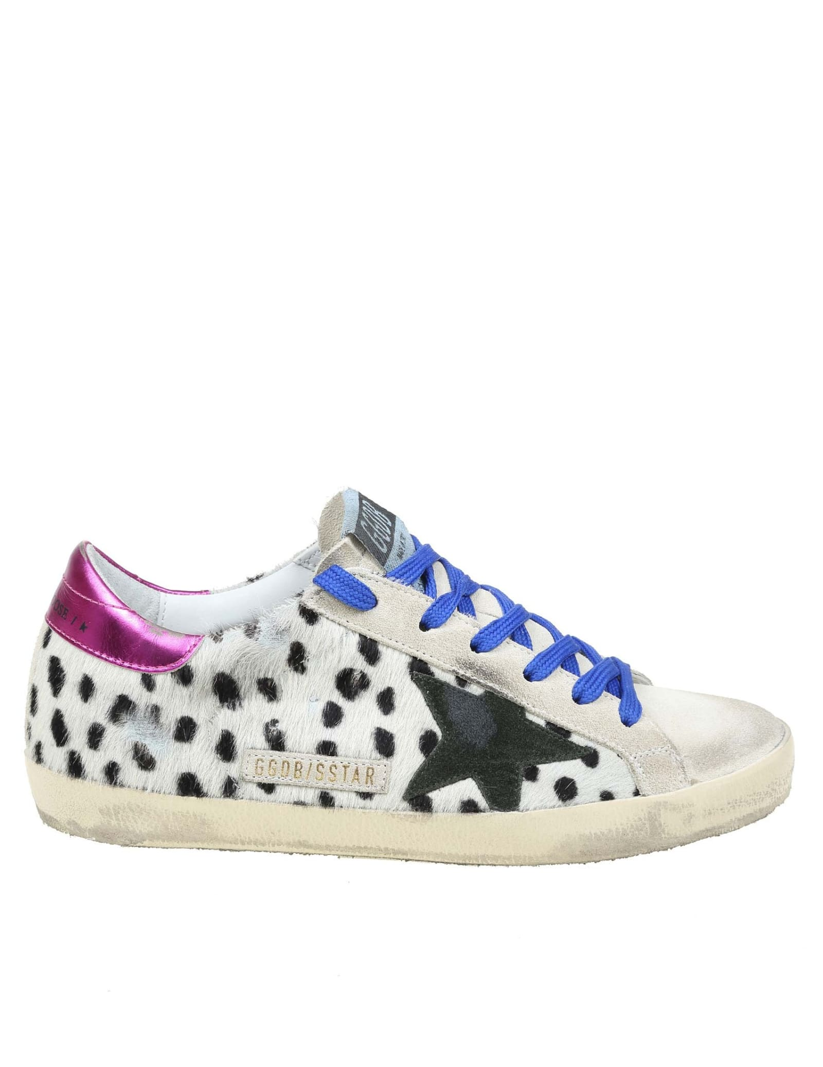 Golden Goose Superstar Sneakers In White And Black Horse