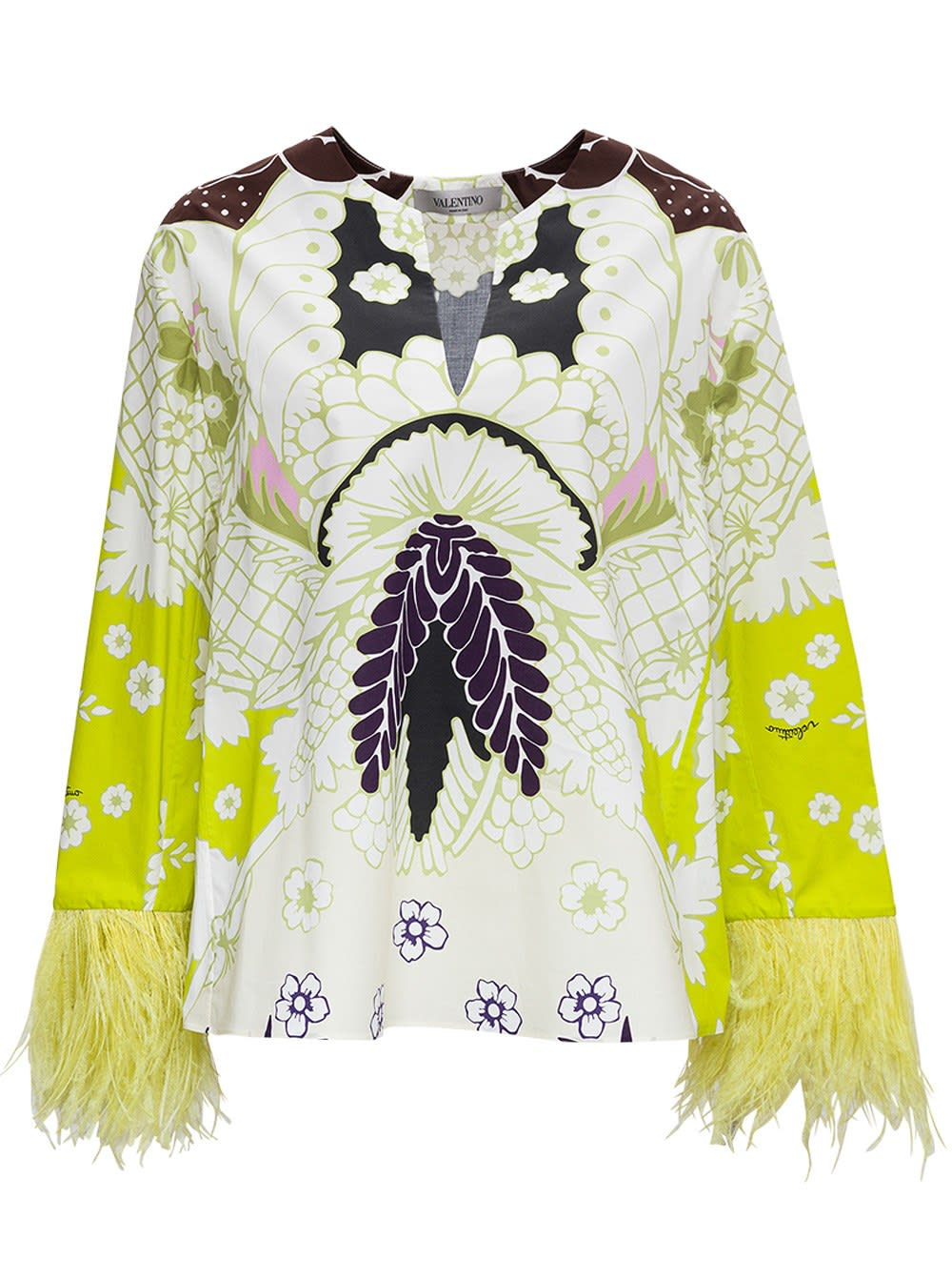 Valentino COTTON POPLIN BLOUSE WITH TROPICAL WORLD TAPESTRY PRINT