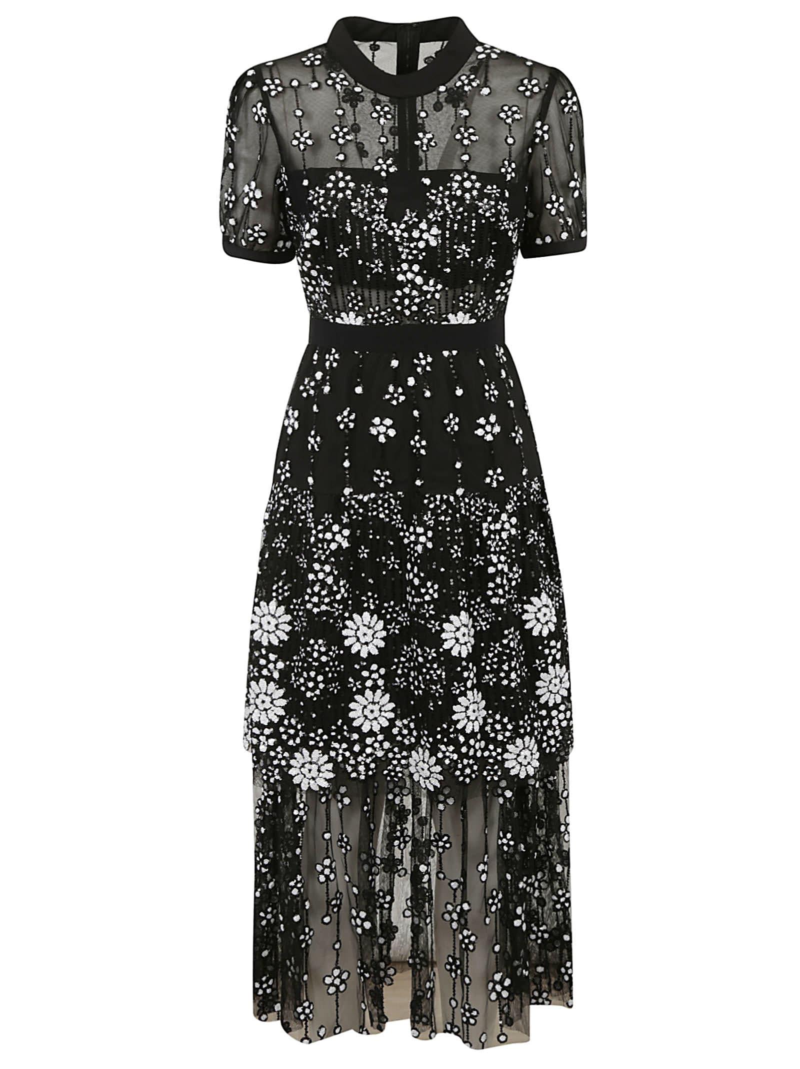 Buy self-portrait Deco Sequin Crew Neck Midi Dress online, shop self-portrait with free shipping