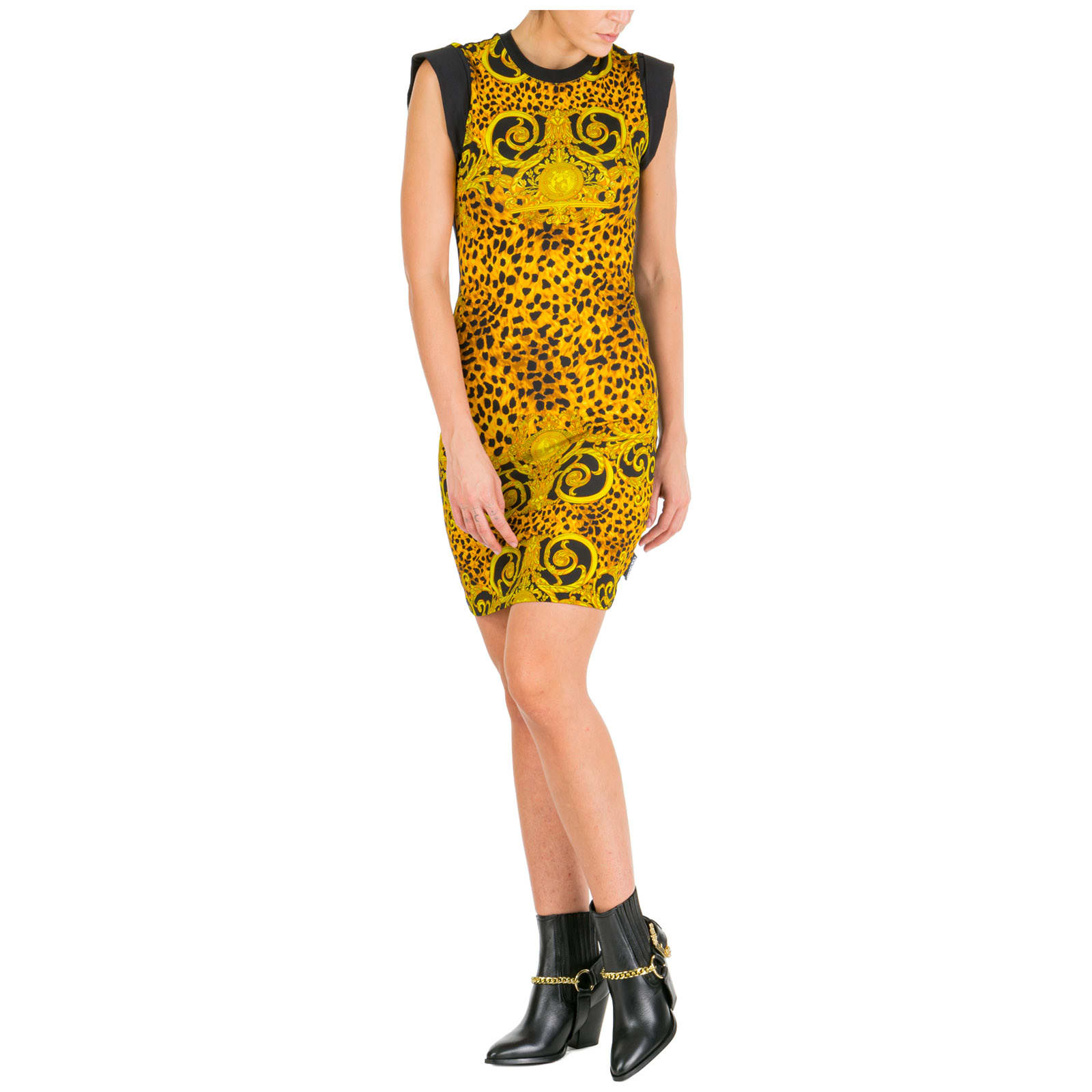 Versace Jeans Couture Knee Length Dress Sleeveless Leo Baroque