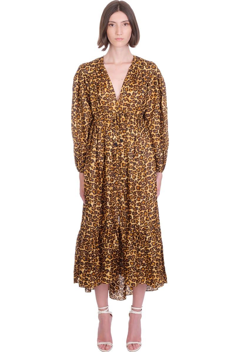 Buy Zimmermann Amelie Draw Lon Dress In Animalier Silk online, shop Zimmermann with free shipping