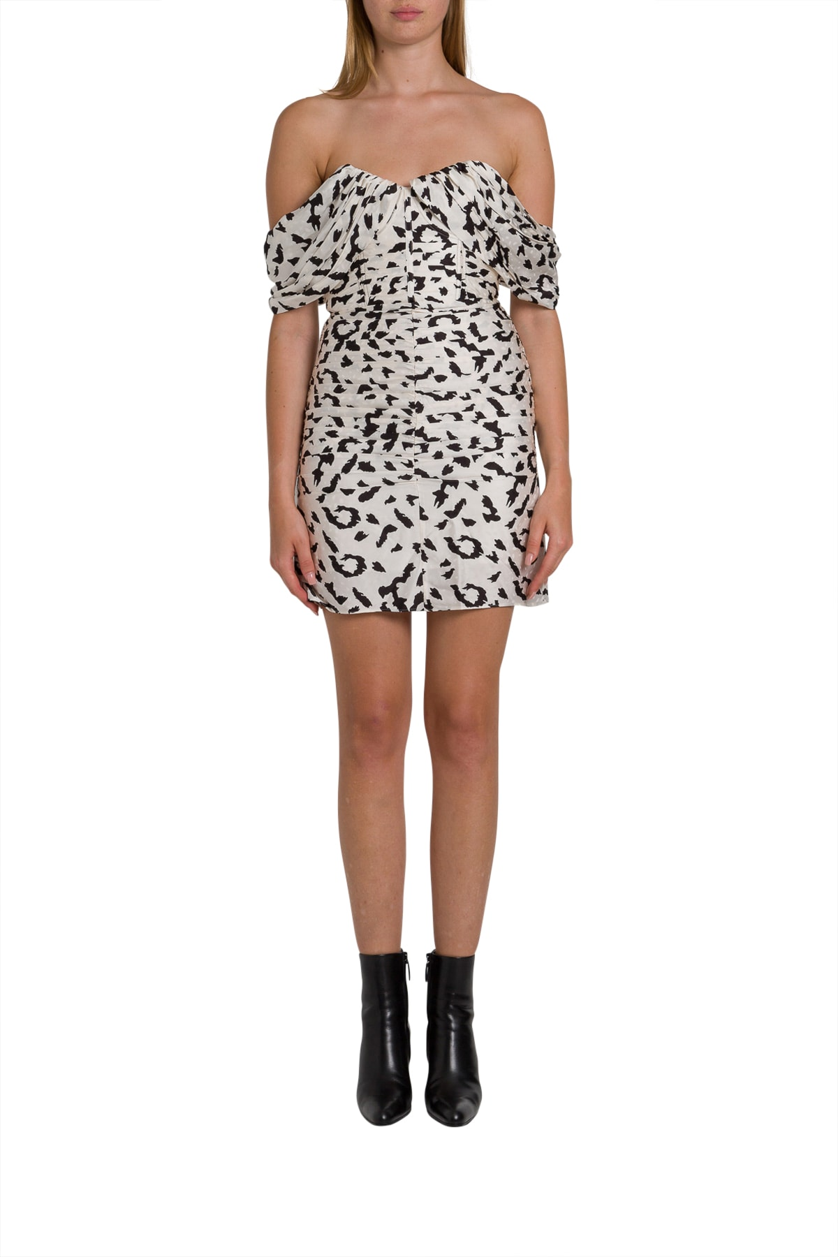 self-portrait Leopard Printed Mini Dress With Dropped Shoulderstraps