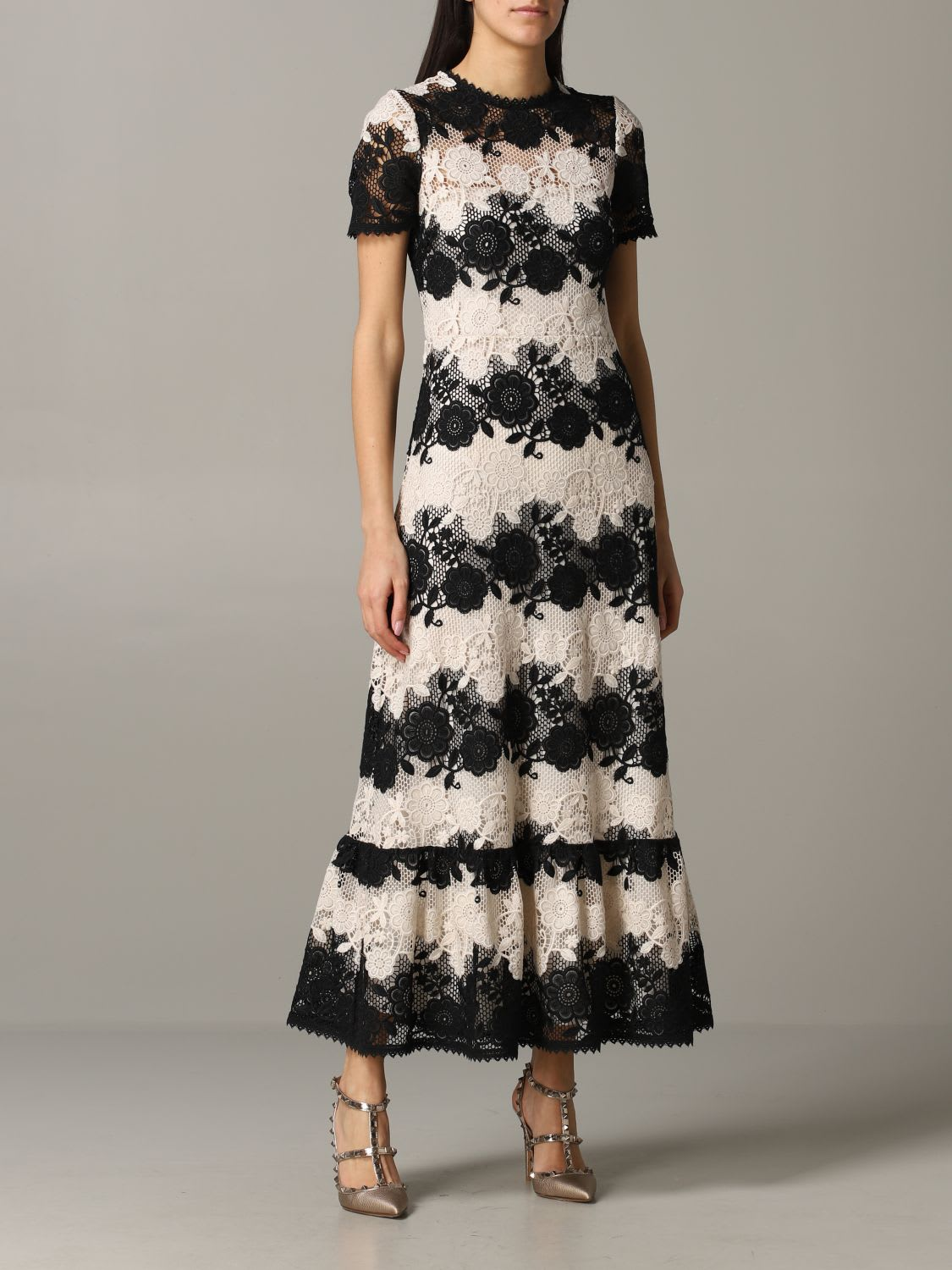 Buy Red Valentino Dress Red Valentino Two-tone Macramé Dress online, shop RED Valentino with free shipping