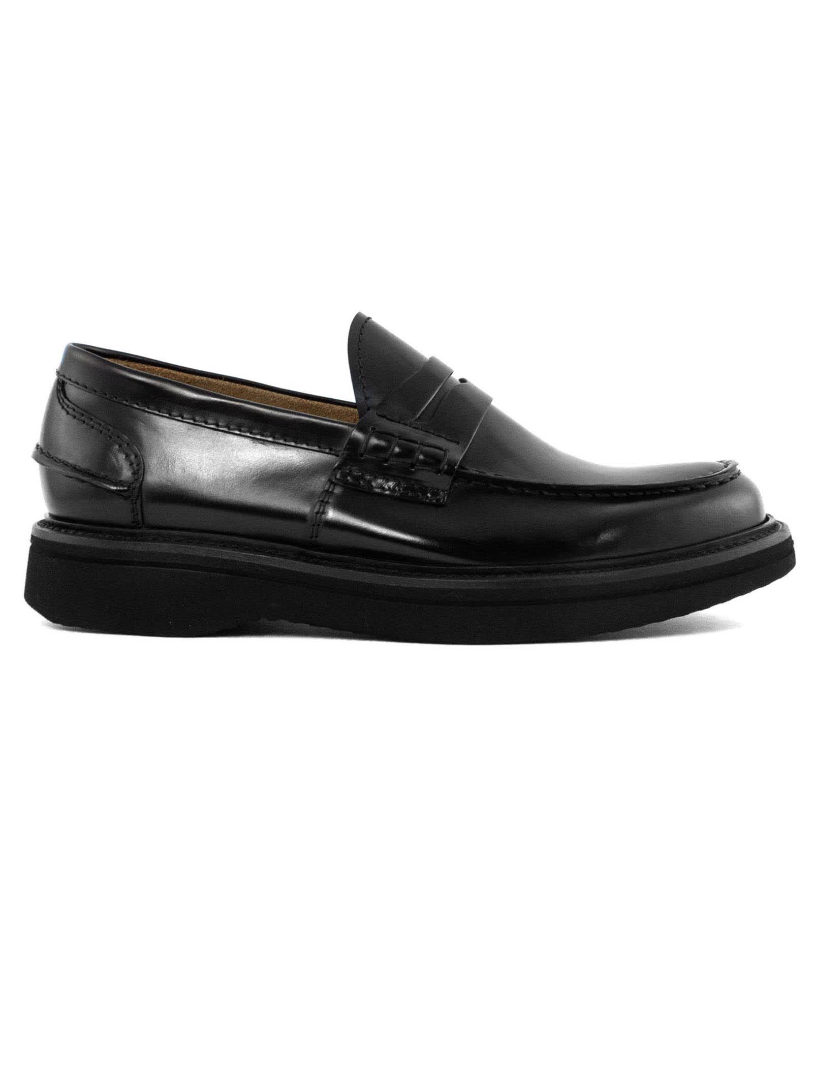 Black Polished Leather Loafer