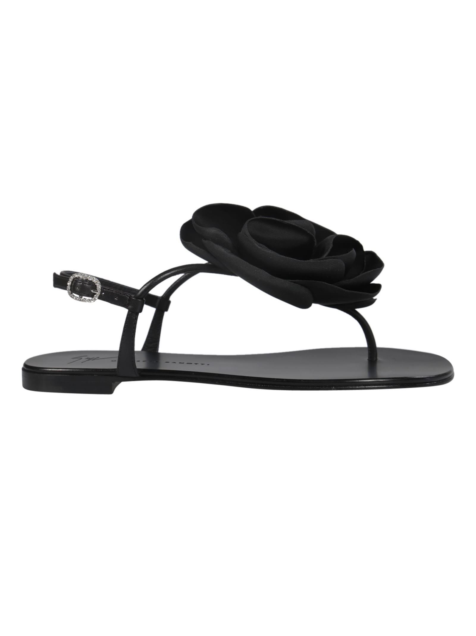 47b2e43288c09 Giuseppe Zanotti Giuseppe Zanotti Flower Embellished Flat Sandals ...