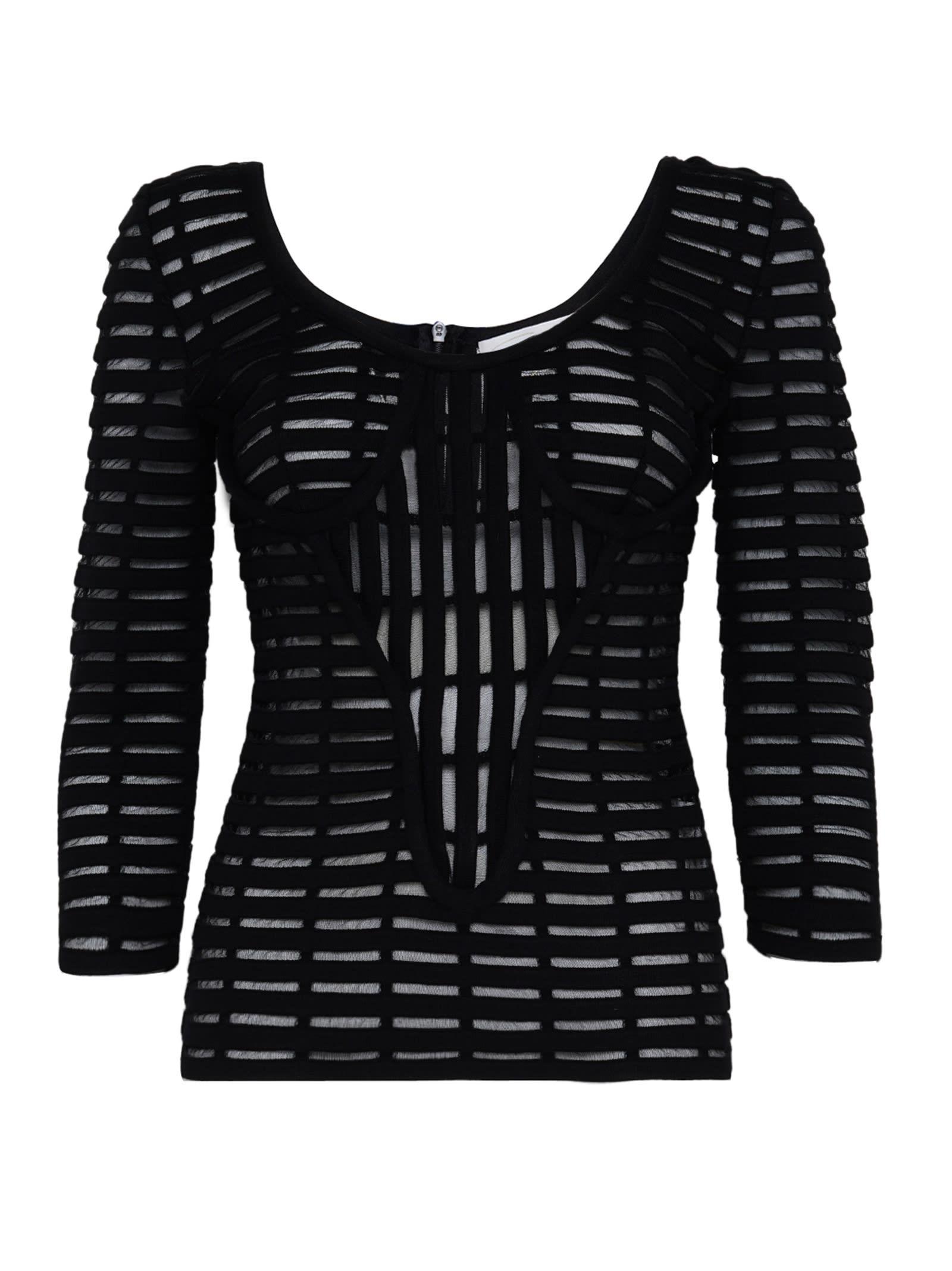 Black Open-knit Long Sleeve Top
