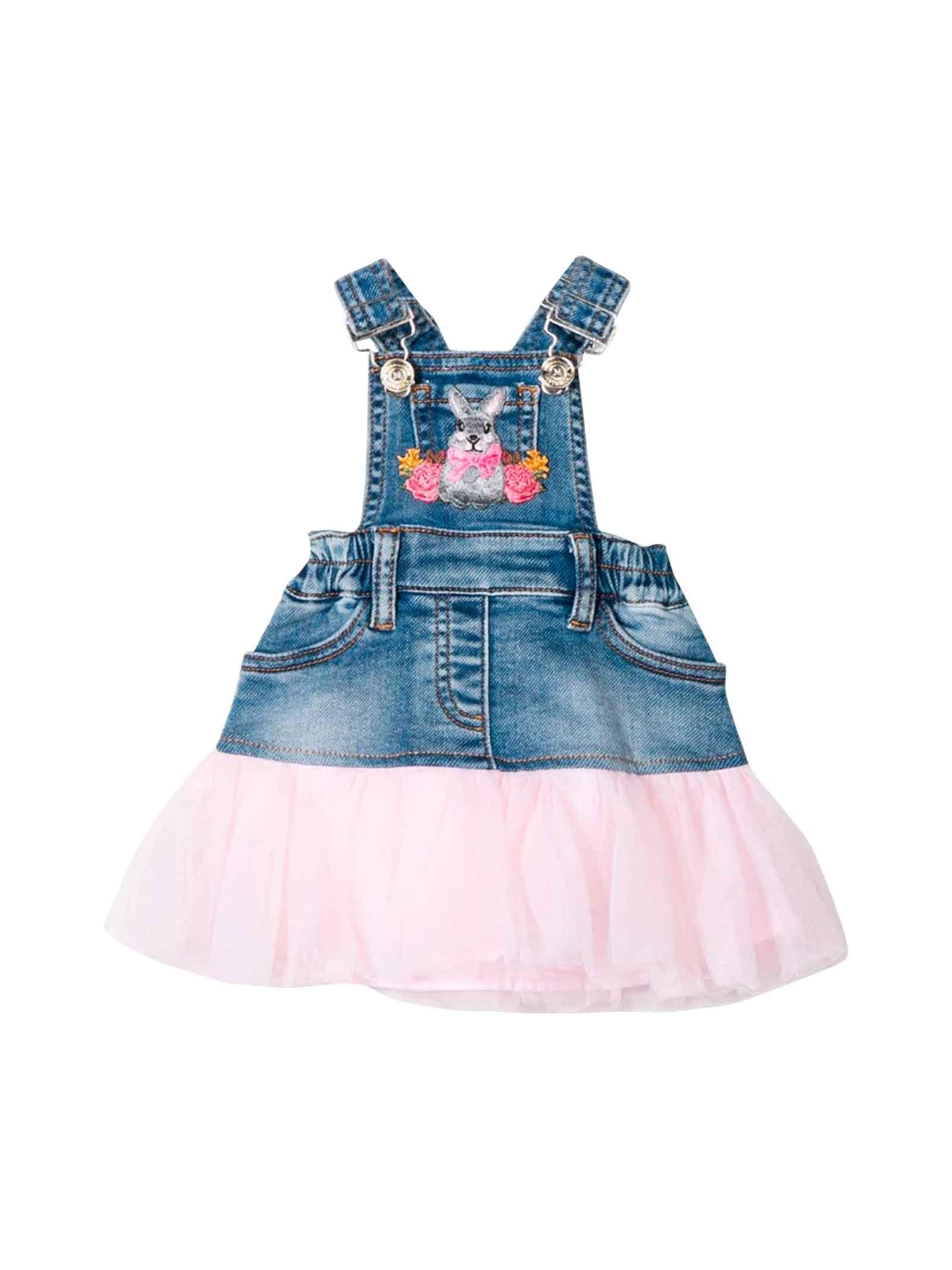 Monnalisa Overalls Dress In Denim