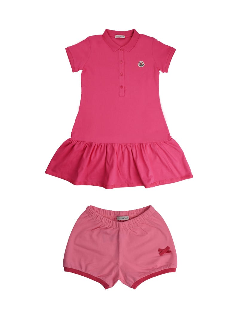 Buy Moncler Short Sleeve Dress In Fuchsia Piquet online, shop Moncler with free shipping