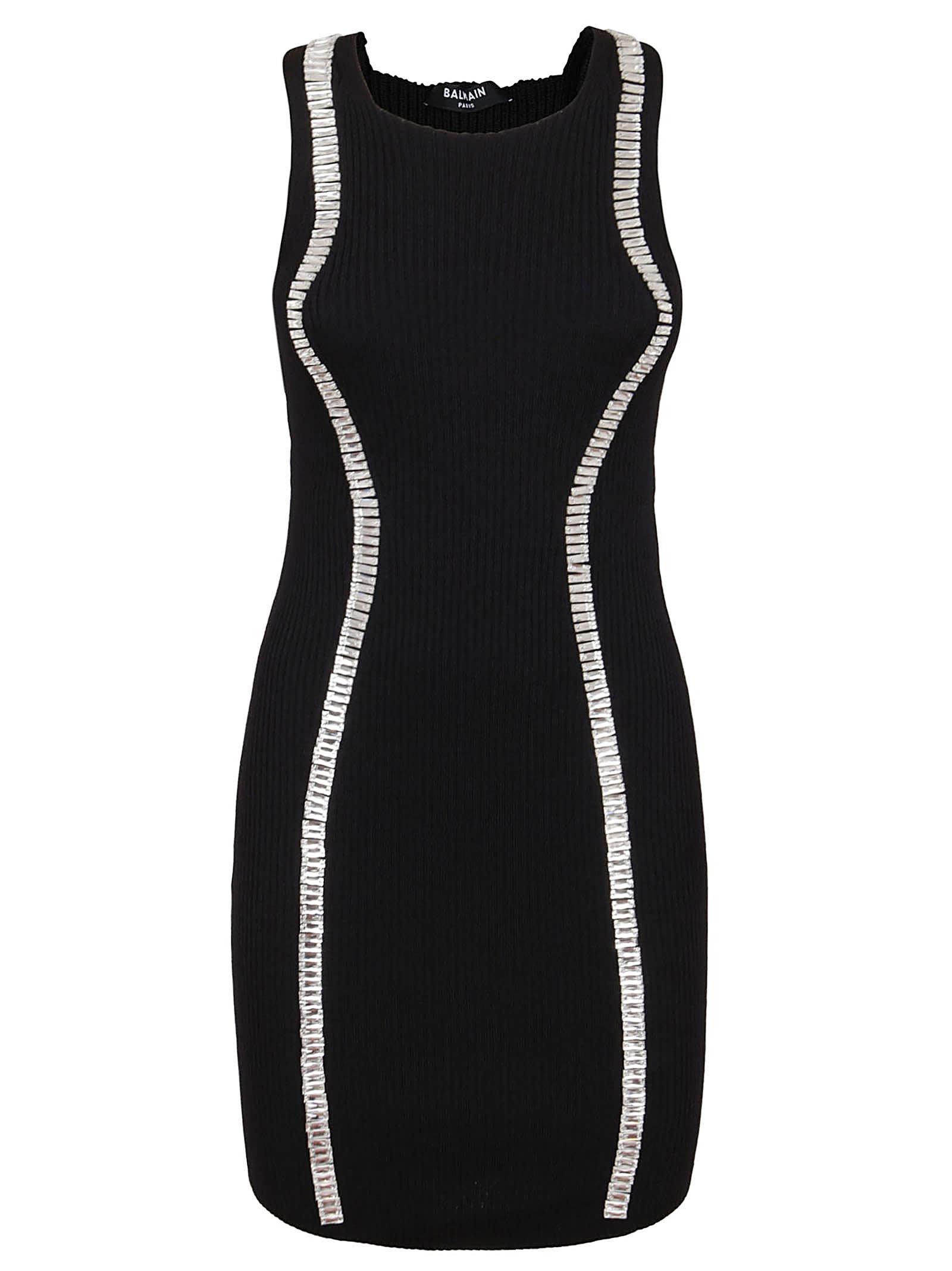 Buy Balmain Short Sleeveless Embroidered Knit Dress online, shop Balmain with free shipping