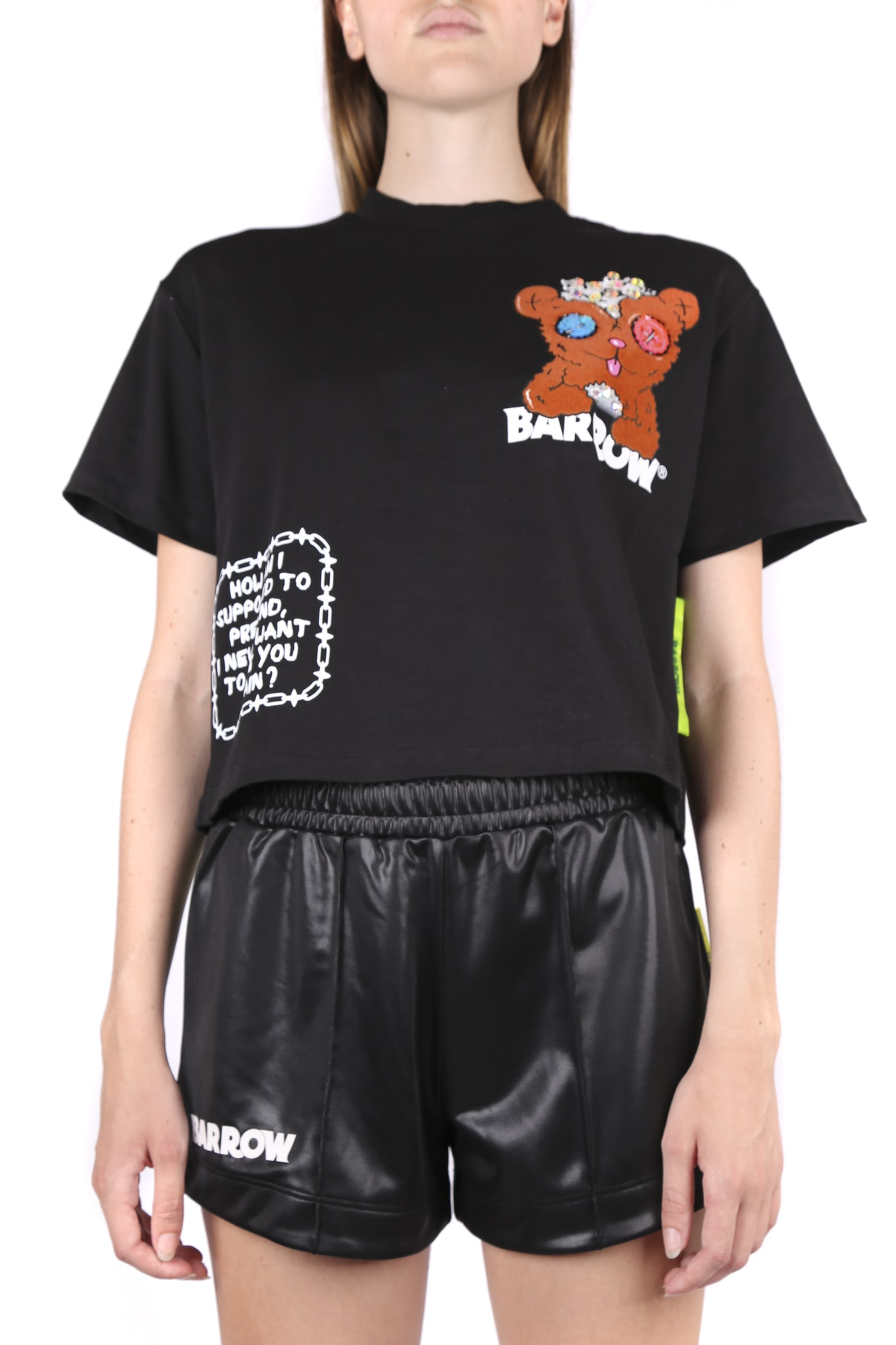 Coach BLACK COTTON T-SHIRT WITH TEDDY PRINT