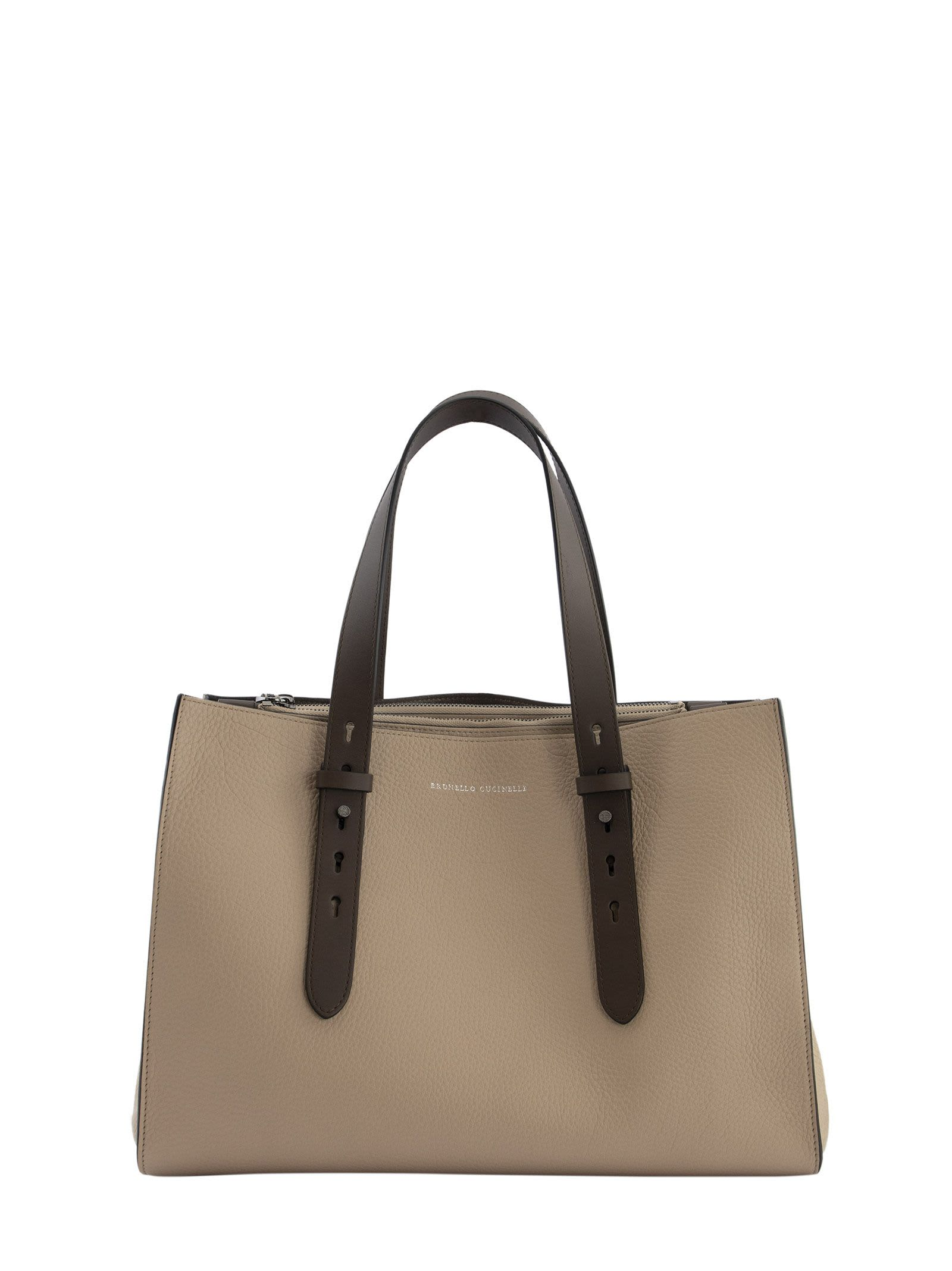 Brunello Cucinelli SHOPPER BAG TEXTURE CALFSKIN LARGE BAG WITH MONILI