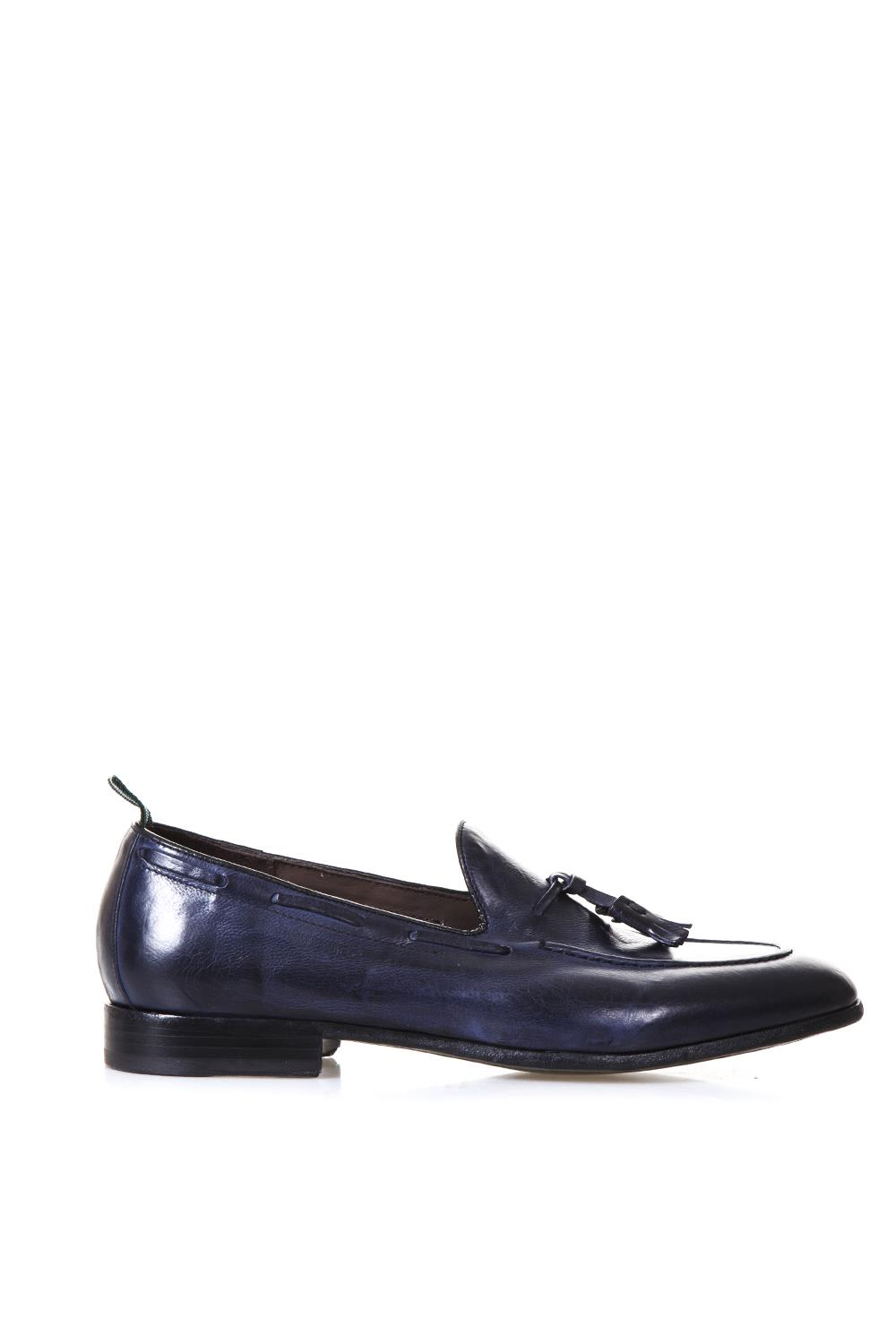 Navy Leather Loafers With Tassels
