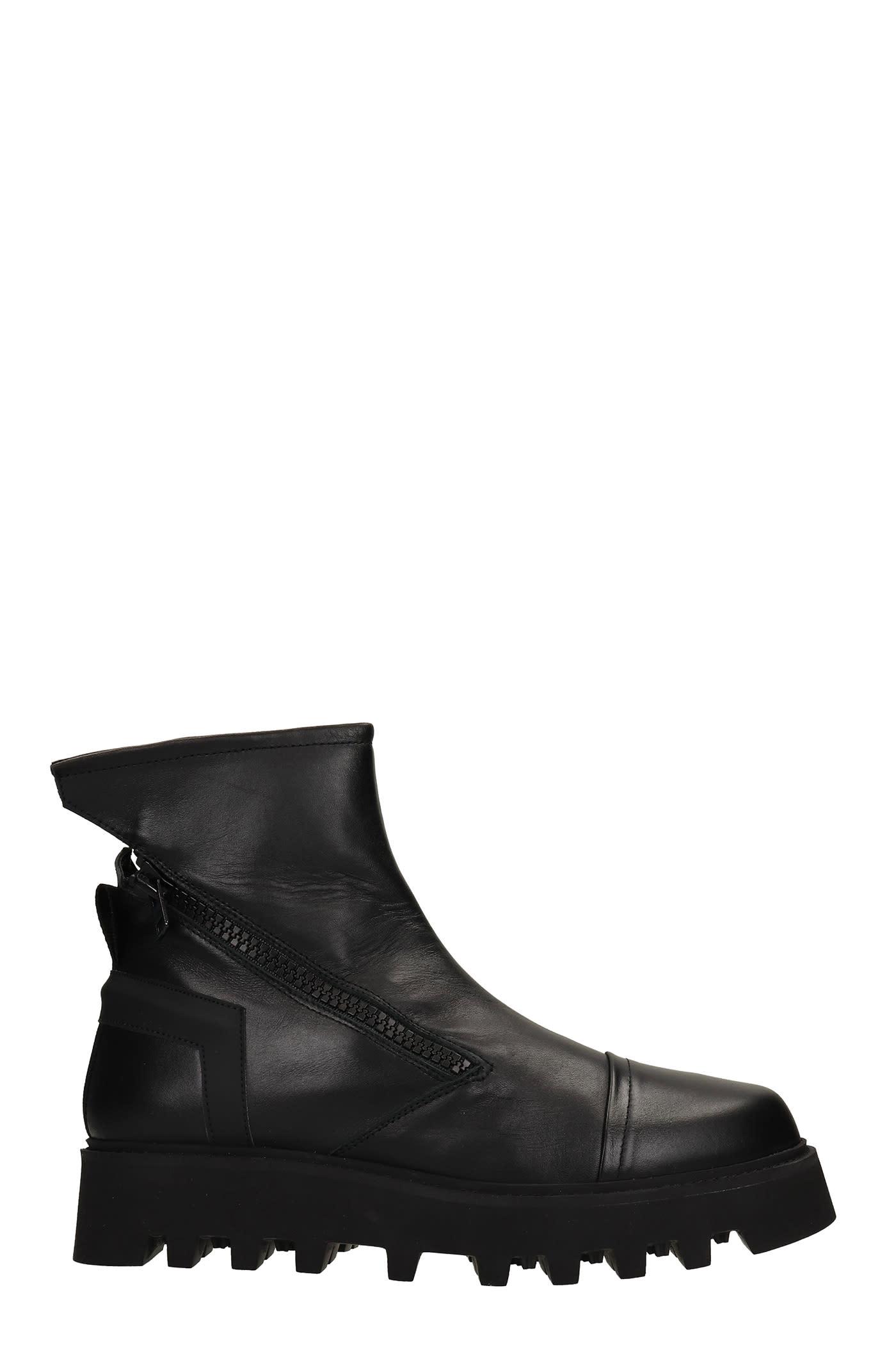 Pontiak Combat Boots In Black Leather