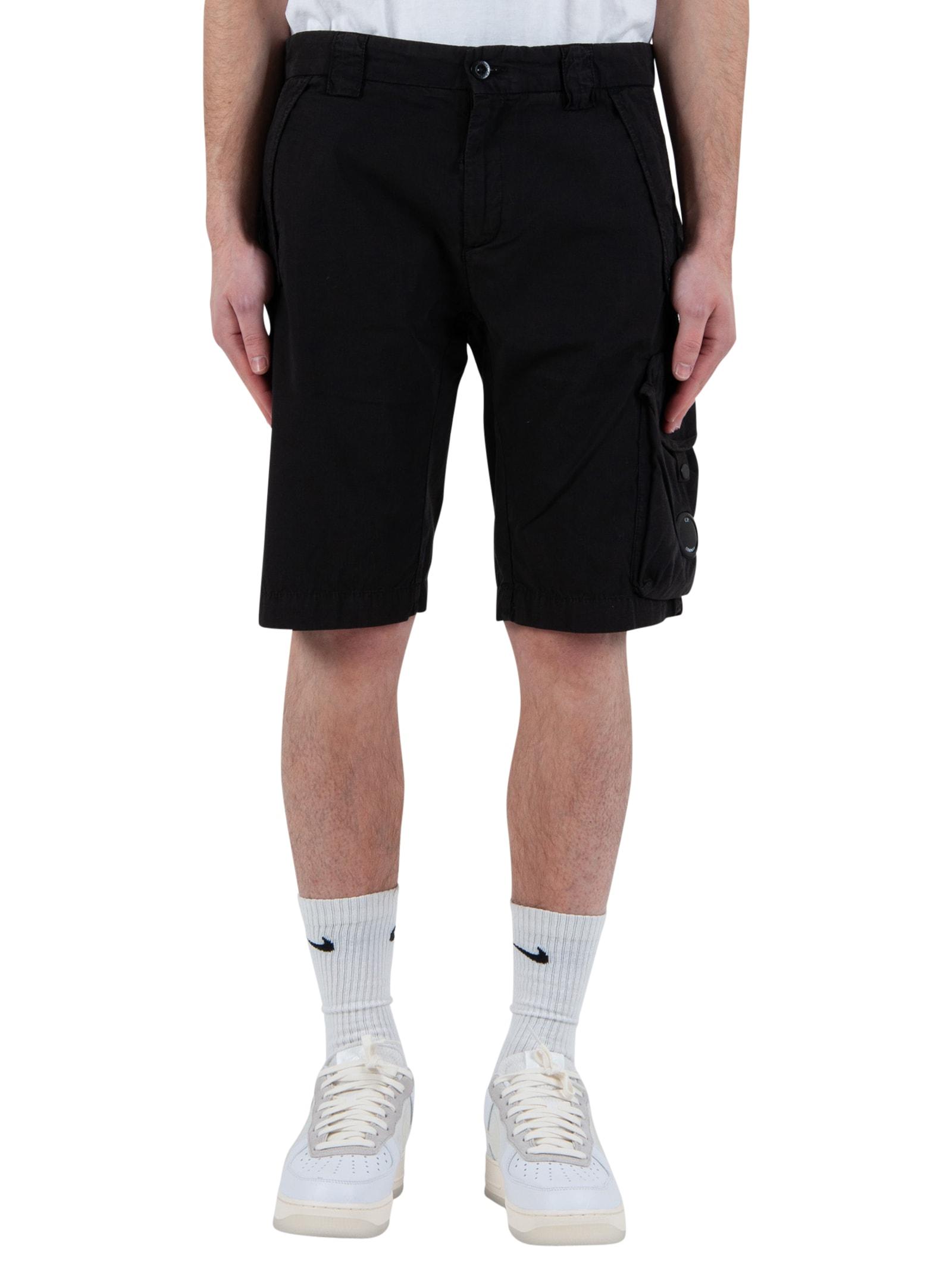 Garment Dyed Stretch Sateen Lens Pocket Shorts - Black