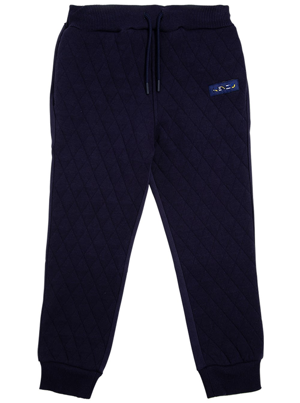 Blue Quilted Cotton Joggers With Logo