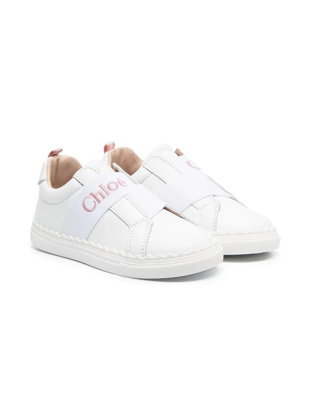 Chloé KID WHITE SNEAKERS WITH CHLOE ELASTIC BAND